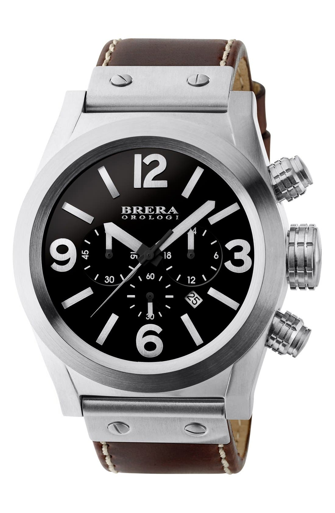Alternate Image 1 Selected - Brera 'Eterno Chrono' Chronograph Leather Strap Watch, 45mm