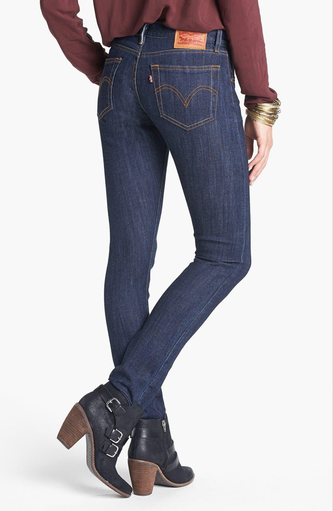 Alternate Image 2  - Levi's® High Waist Resin Rinse Selvedge Skinny Jeans