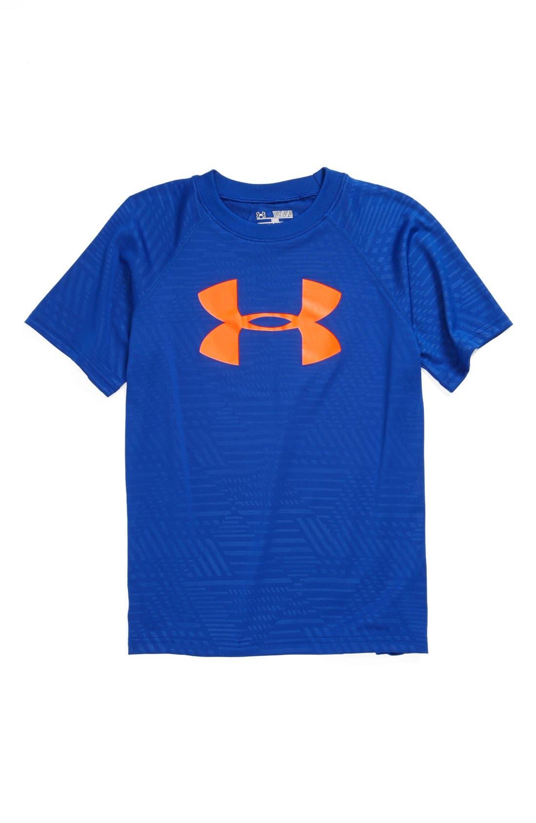 Main Image - Under Armour Logo Embossed HeatGear® T-Shirt (Big Boys)