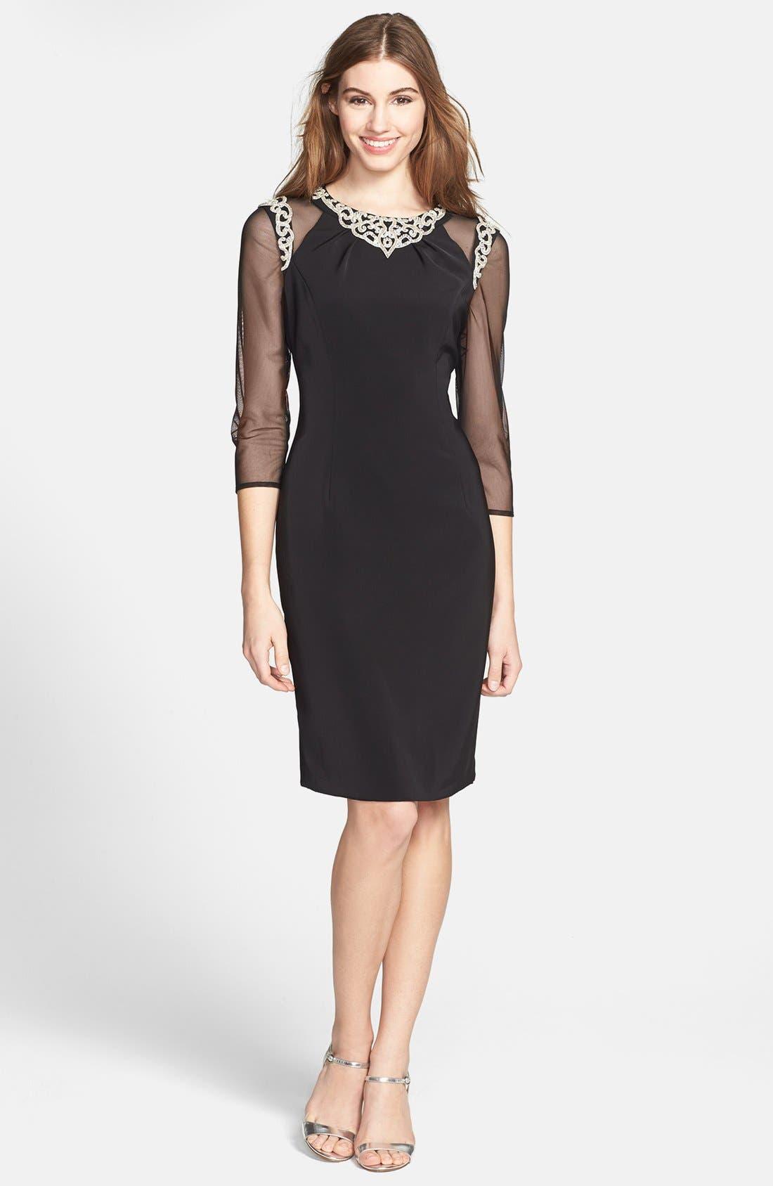 Alternate Image 1 Selected - Alex Evenings Embellished Mesh & Crepe Sheath Dress (Petite)
