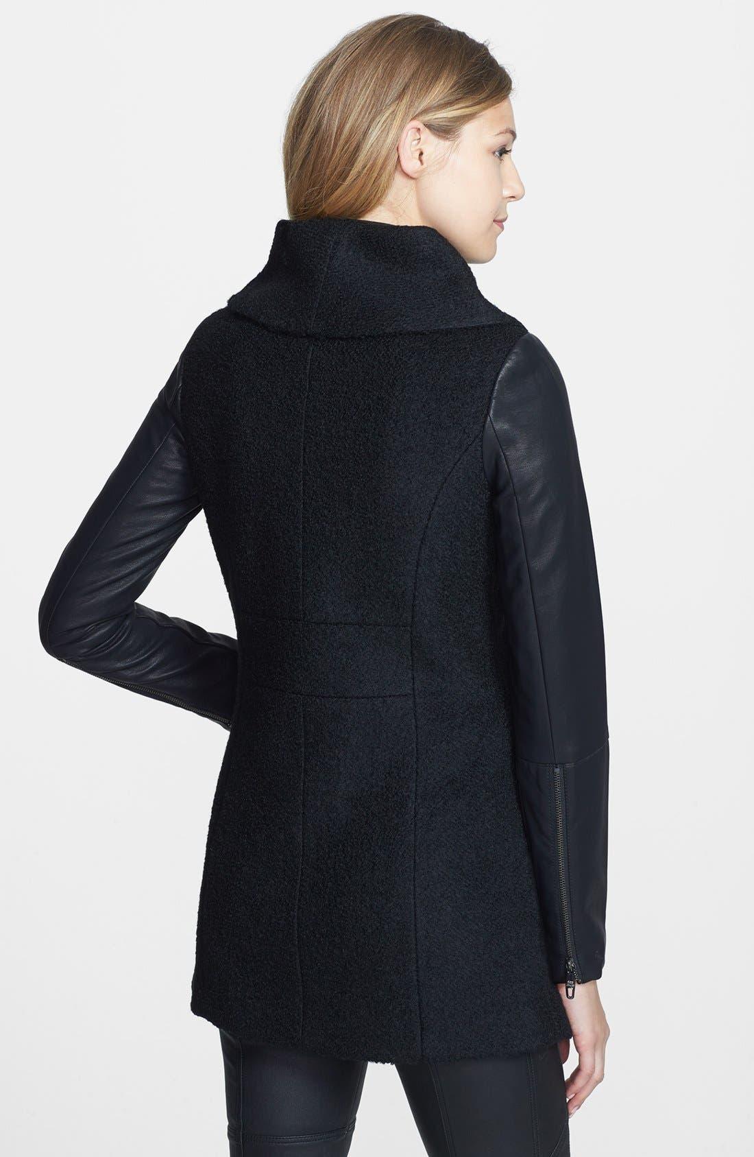 Alternate Image 2  - Steve Madden Faux Leather Sleeve Bouclé Coat