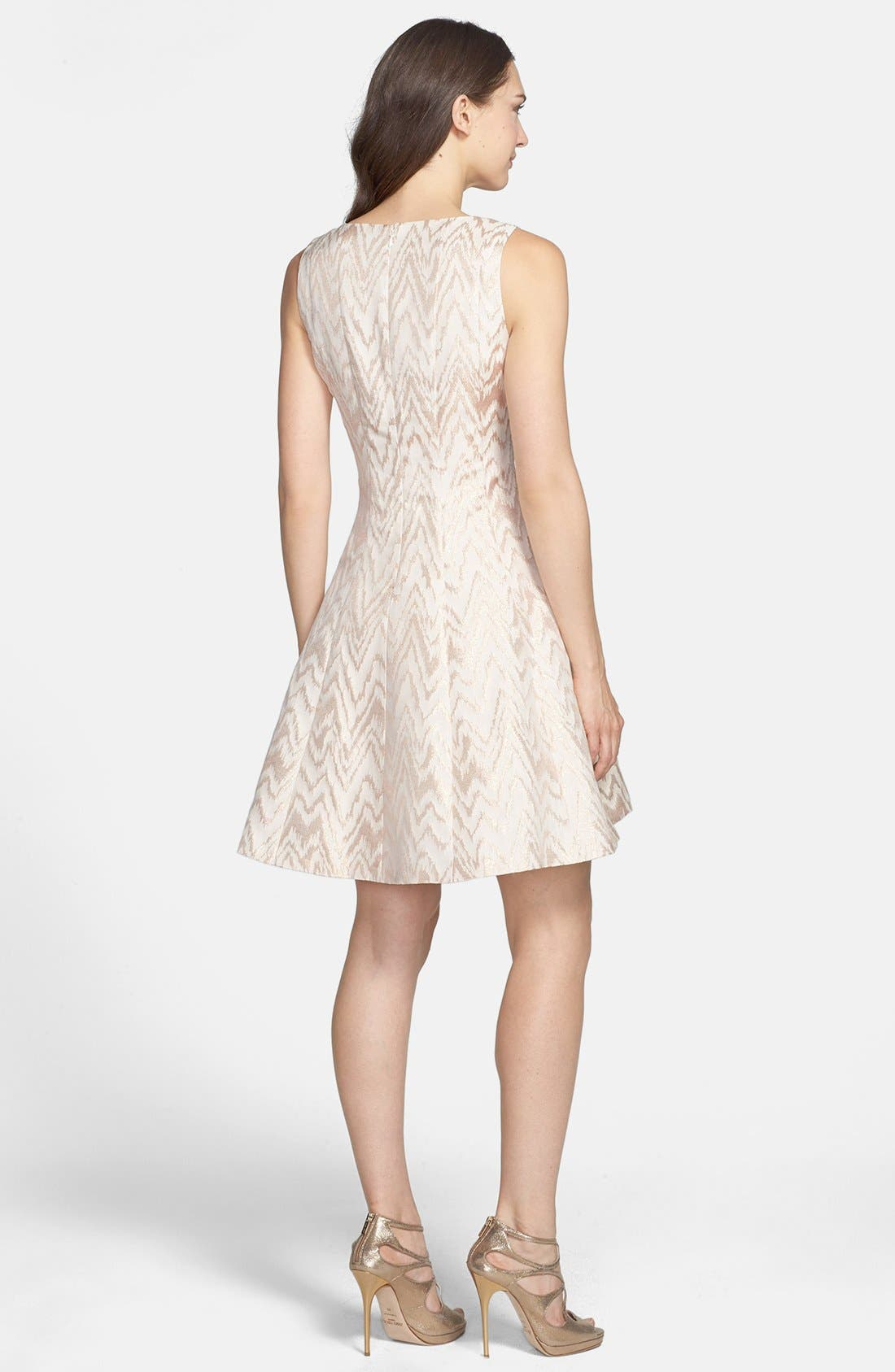 Alternate Image 2  - Vince Camuto Metallic Jacquard Fit & Flare Dress