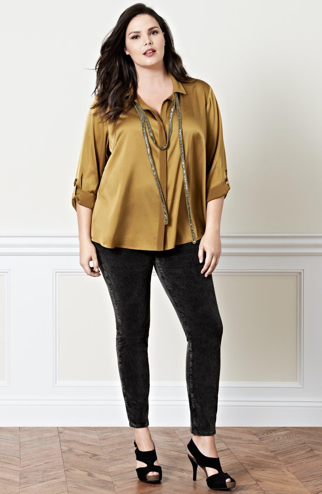 Alternate Image 5  - Eileen Fisher Stretch Silk Shirt (Plus Size)