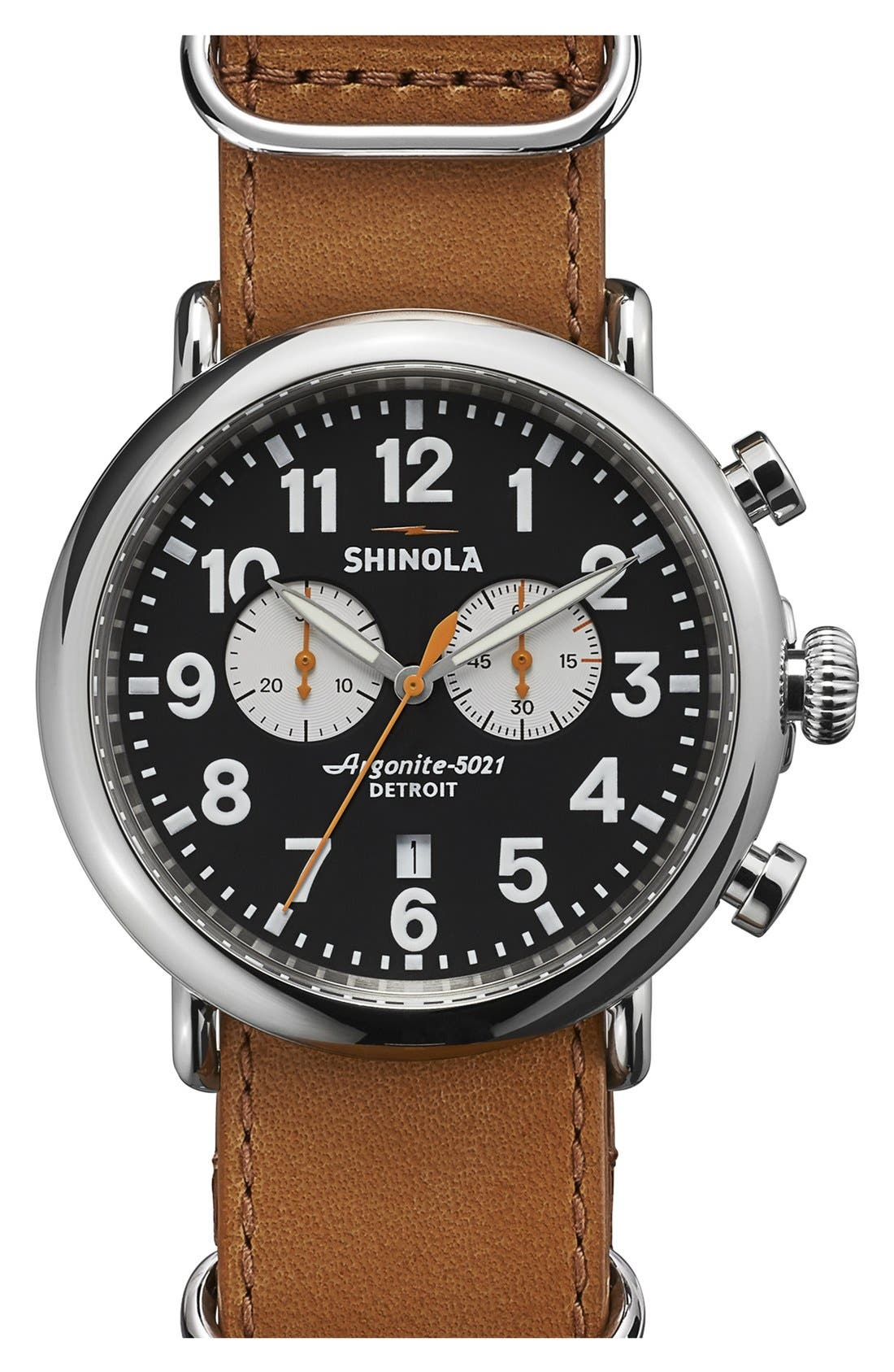 Alternate Image 1 Selected - Shinola 'The Runwell Chrono' Leather Strap Watch, 47mm
