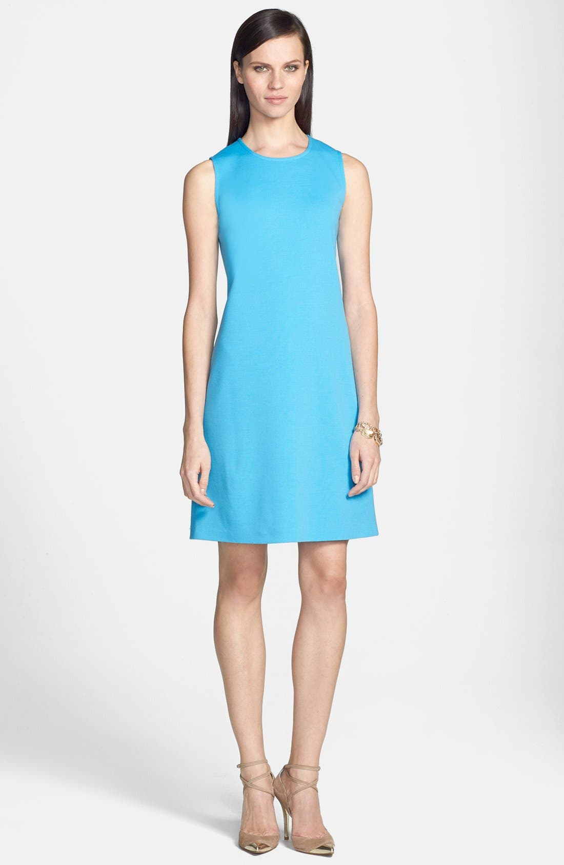 Main Image - St. John Collection Milano Knit Jewel Neck Trapeze Dress