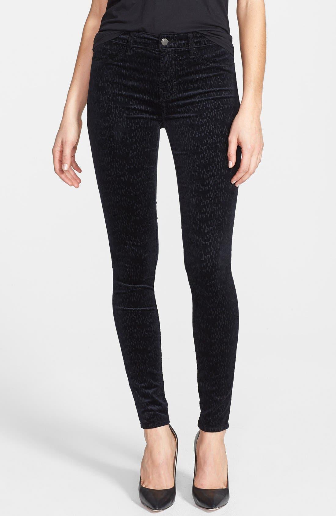 Main Image - J Brand '815' Patterned Velvet Skinny Jeans