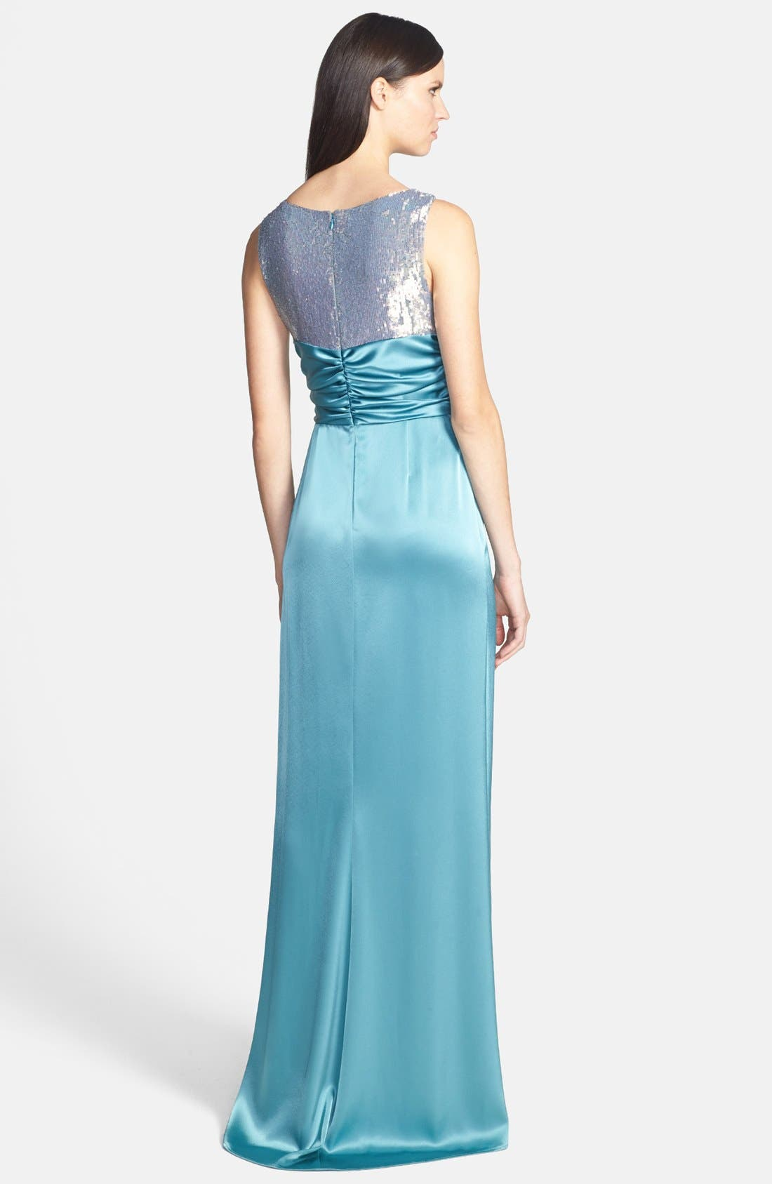 Alternate Image 2  - St. John Collection Sequin Bodice Liquid Satin Gown with Train