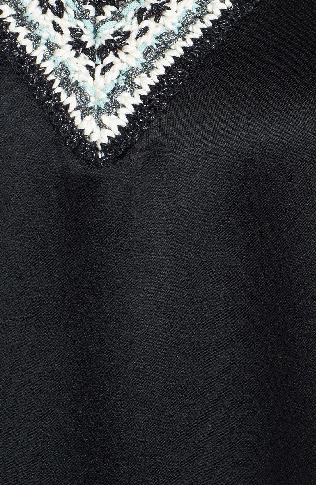 Alternate Image 5  - St. John Collection Crochet Trim Liquid Satin Cap Sleeve Blouse (Online Only)