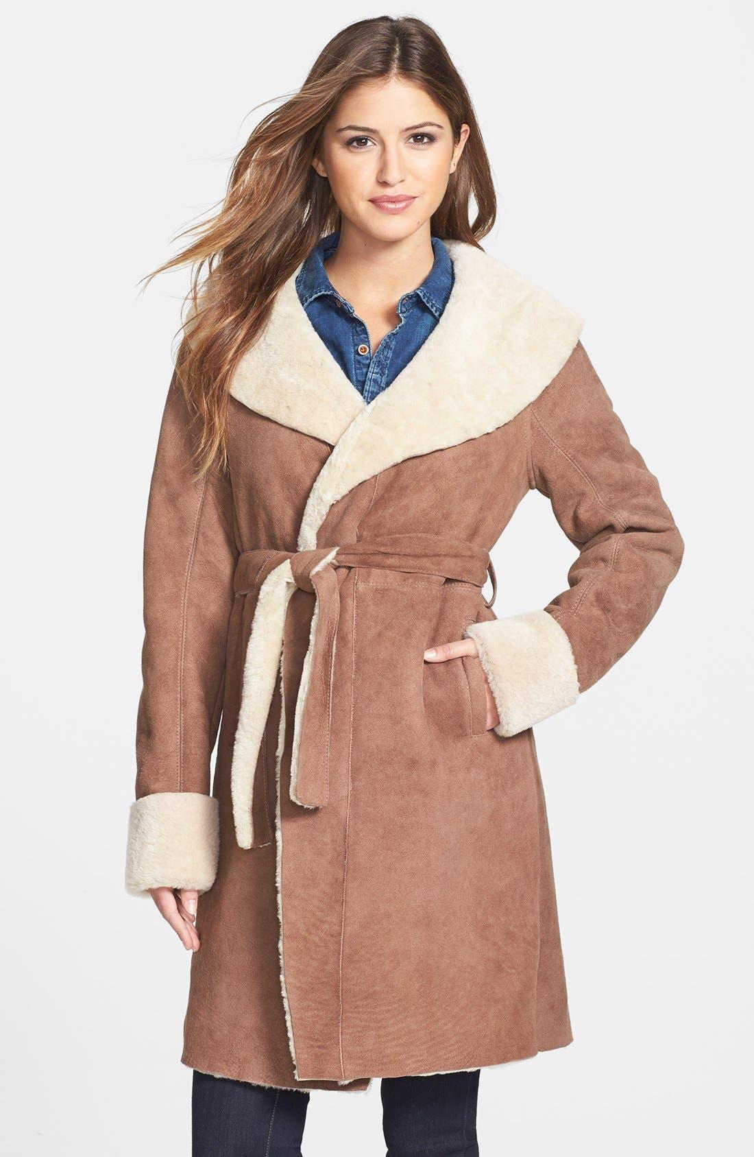 Alternate Image 1 Selected - UGG® Australia 'Andeliane' Genuine Shearling Wrap Coat