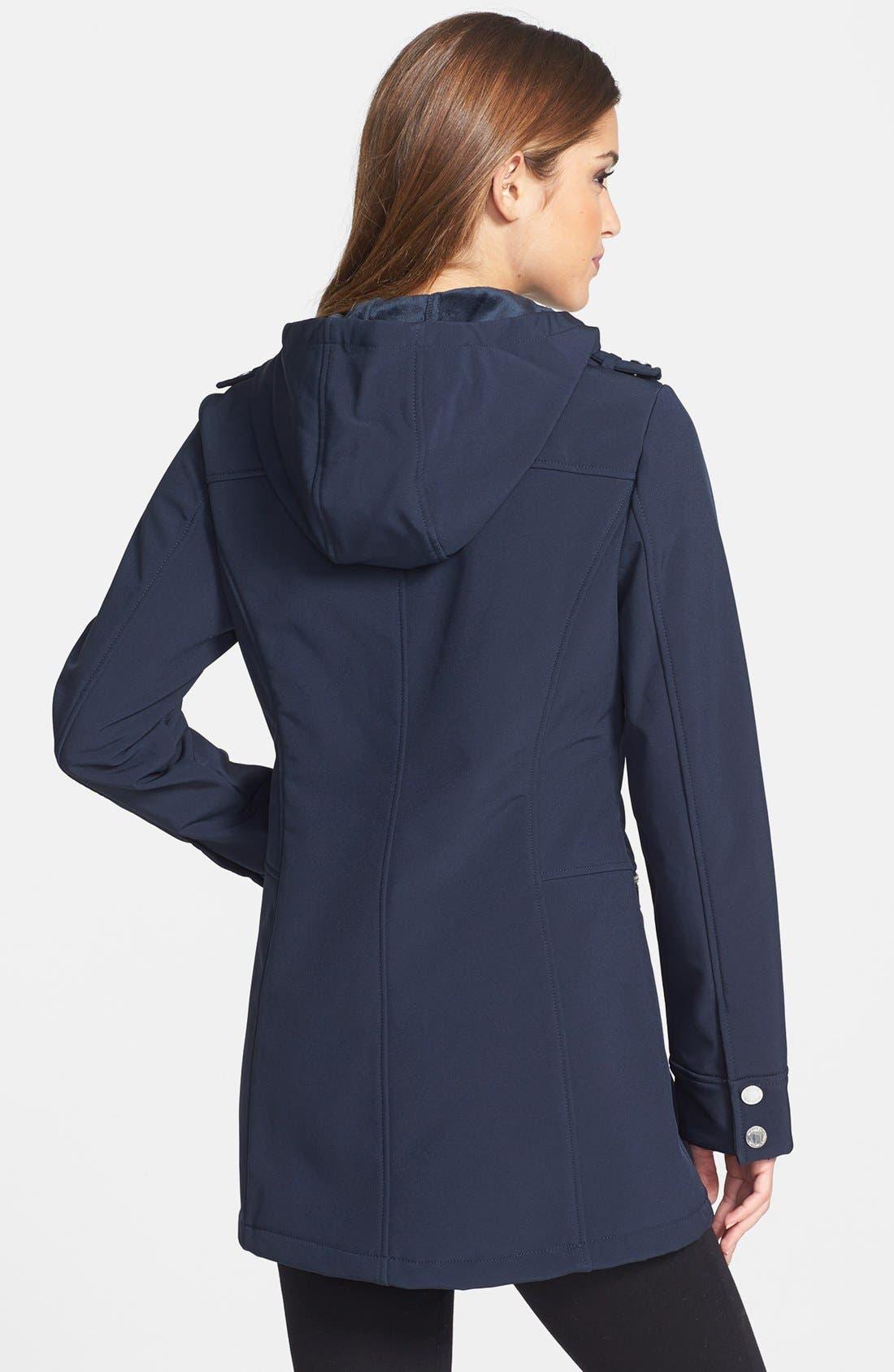 Alternate Image 2  - MICHAEL Michael Kors Faux Leather Trim Soft Shell Jacket (Regular & Petite)