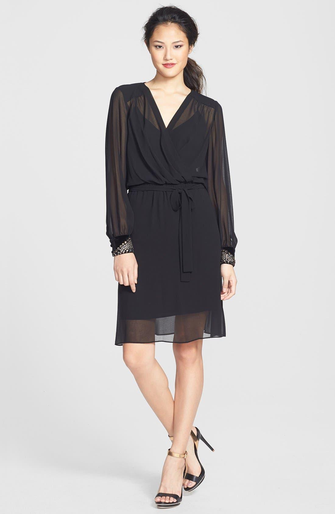 Main Image - Donna Morgan Embellished Cuffs Faux Wrap Chiffon Dress