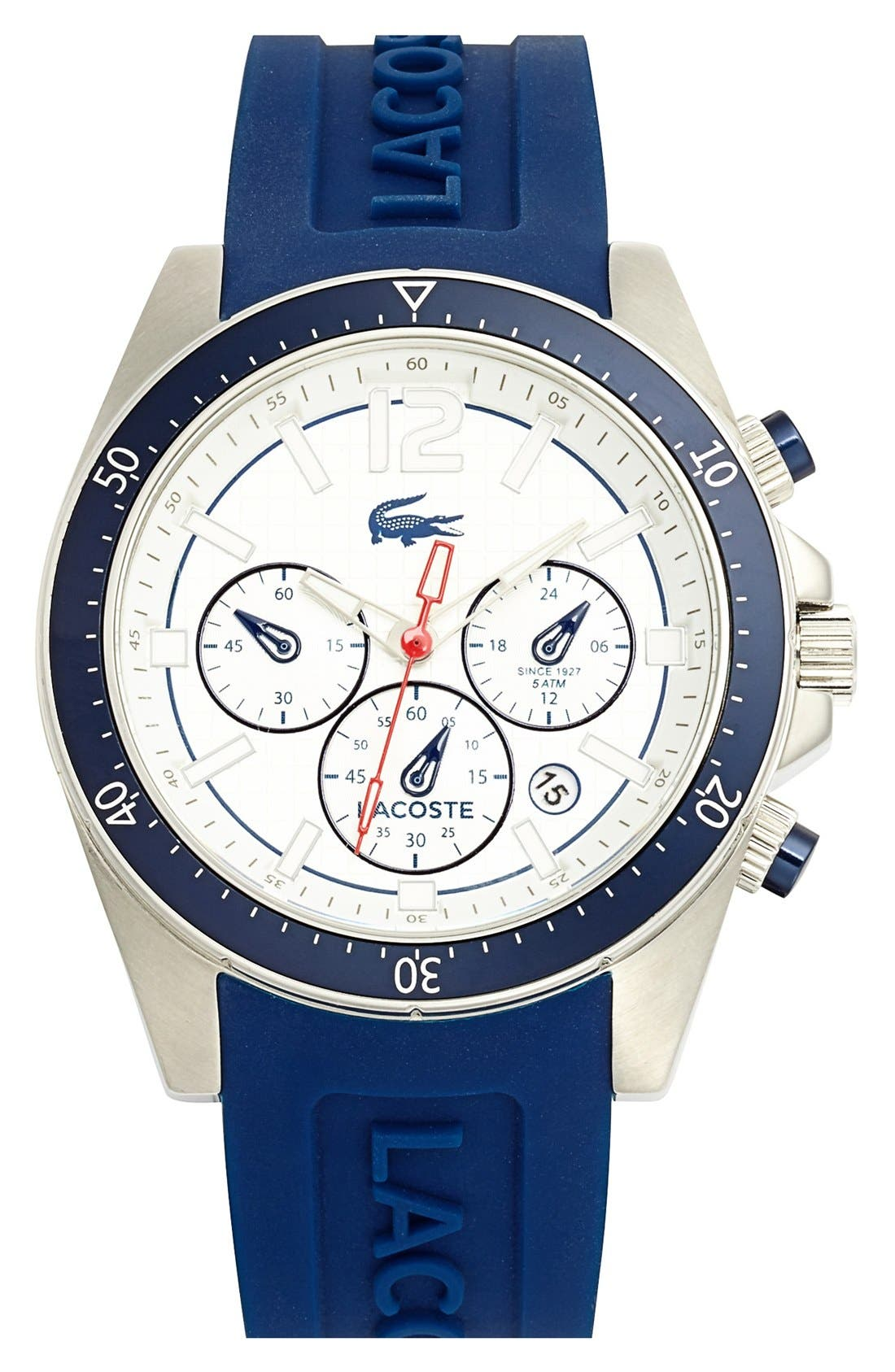 Alternate Image 1 Selected - Lacoste 'Seattle' Chronograph Silicone Strap Watch, 44mm