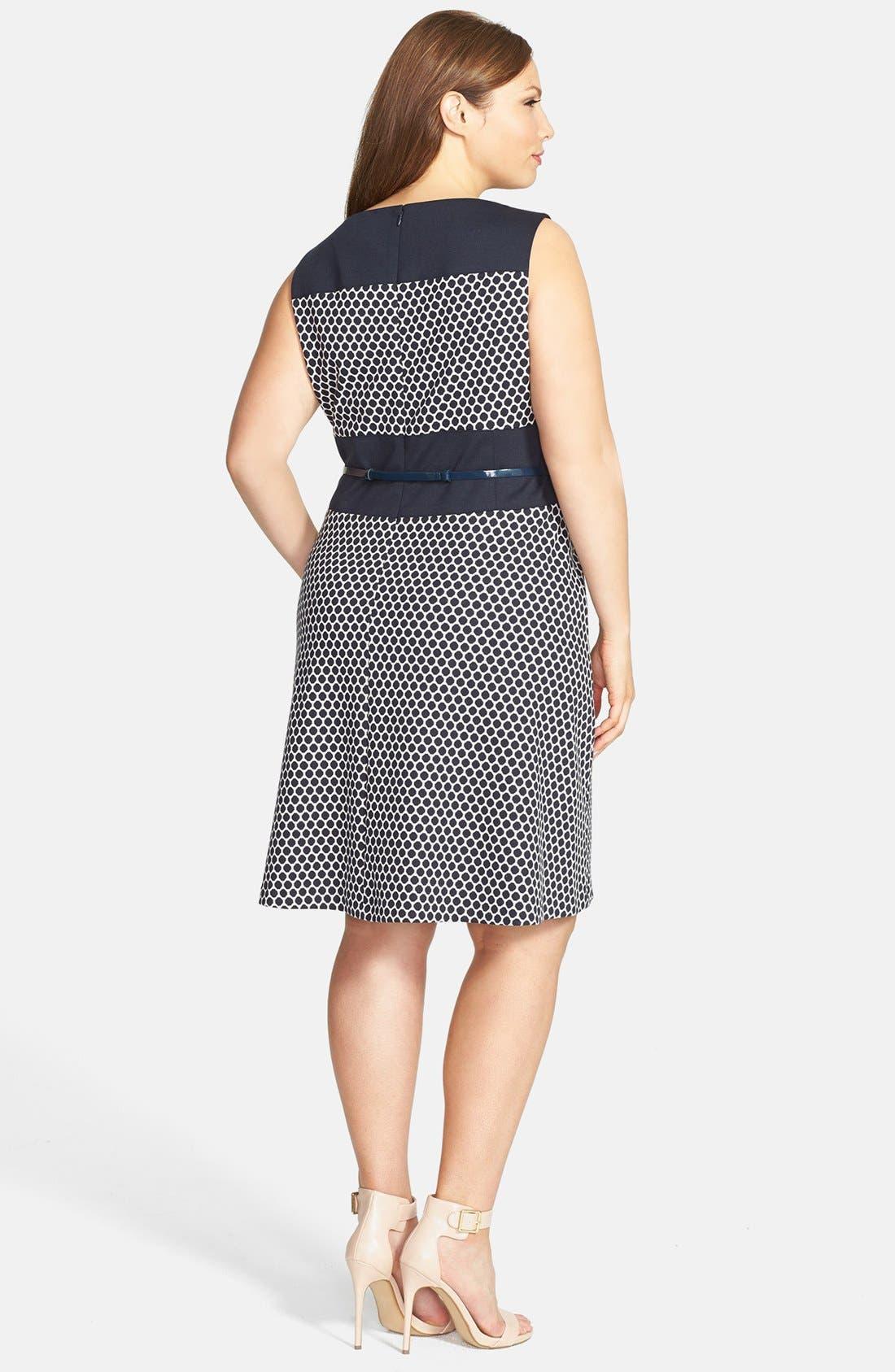 Alternate Image 2  - Anne Klein Pattern Ponte Fit & Flare Dress (Plus Size)