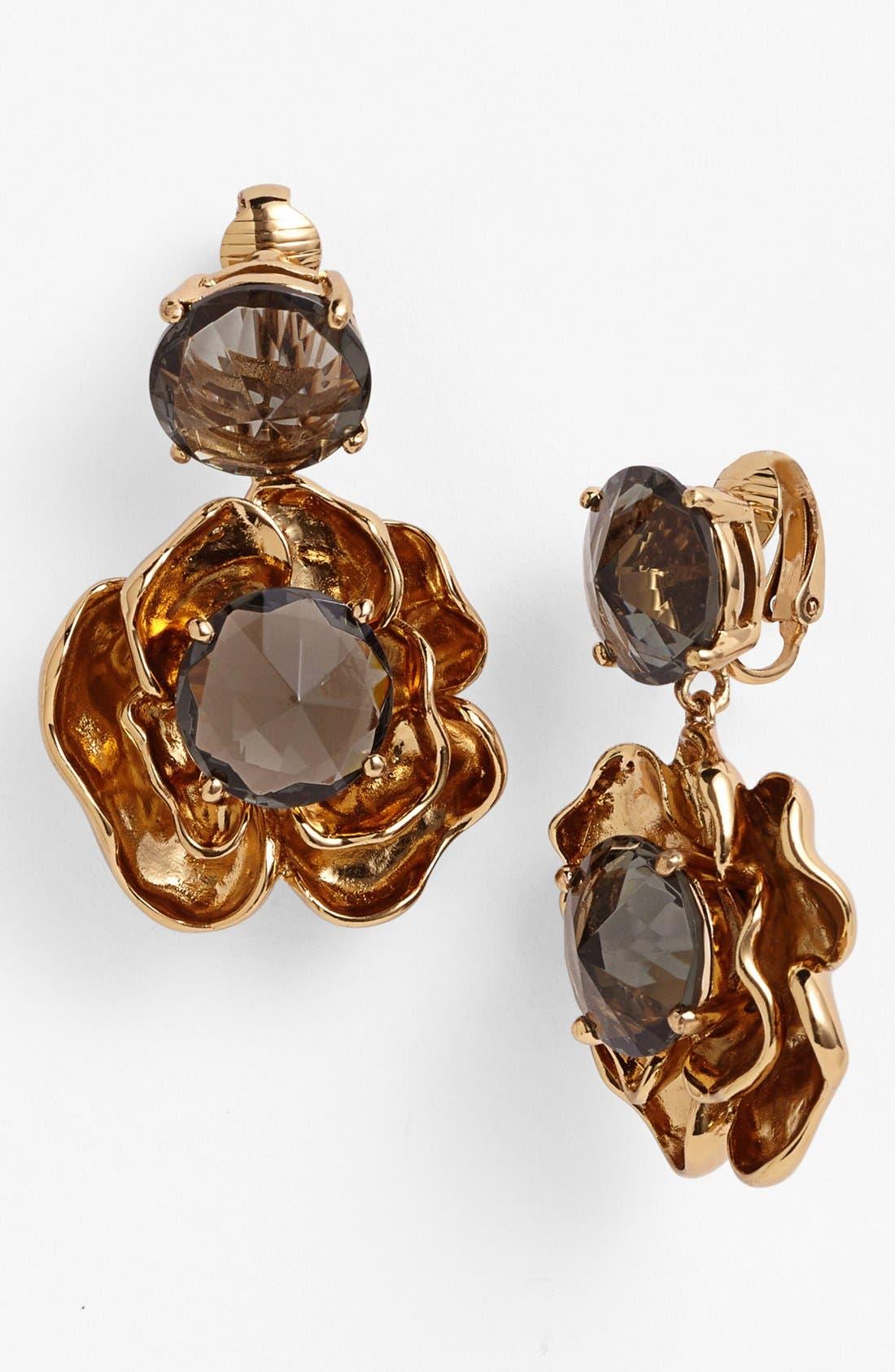 Main Image - Tory Burch 'Crystal Rose' Drop Clip Earrings