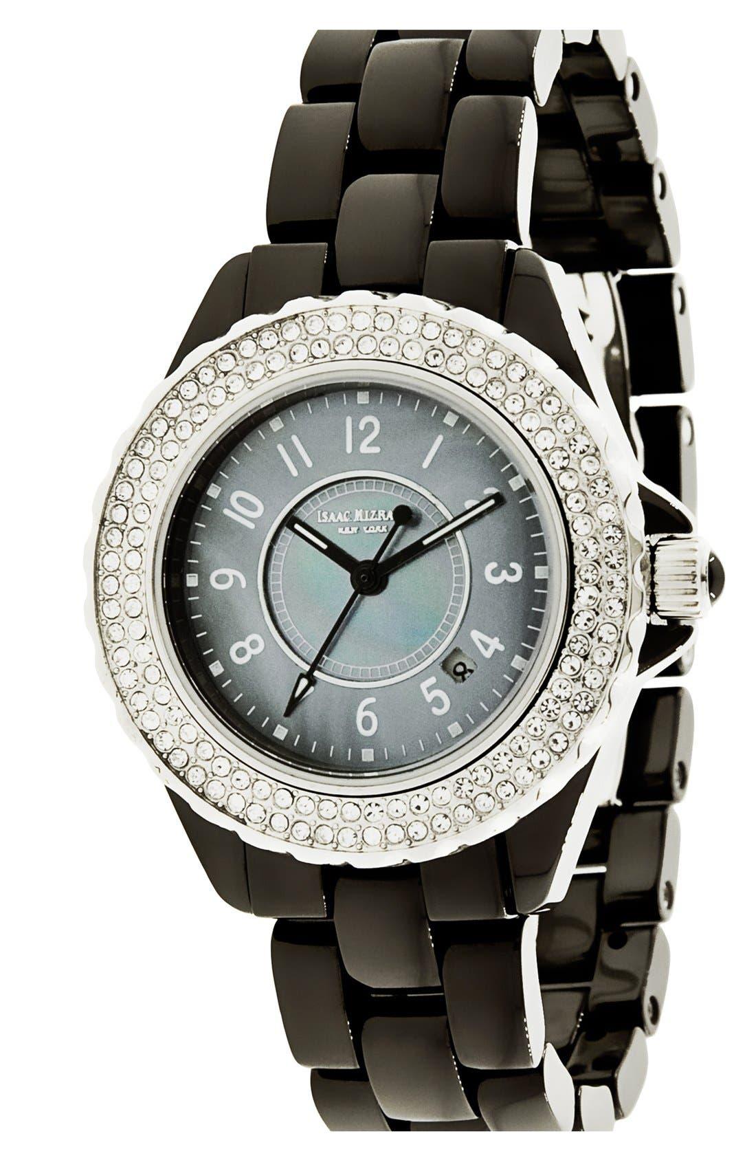 Main Image - Isaac Mizrahi New York Pavé Bezel Ceramic Bracelet Watch, 38mm