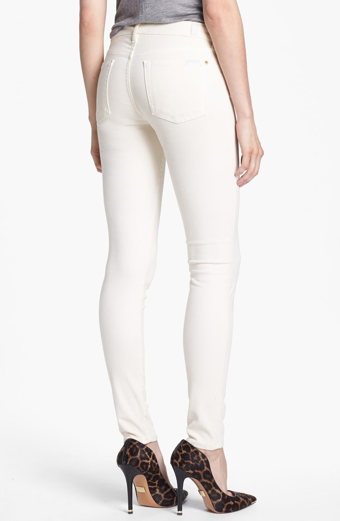 Alternate Image 2  - 7 For All Mankind® Sateen Skinny Jeans (Winter White)
