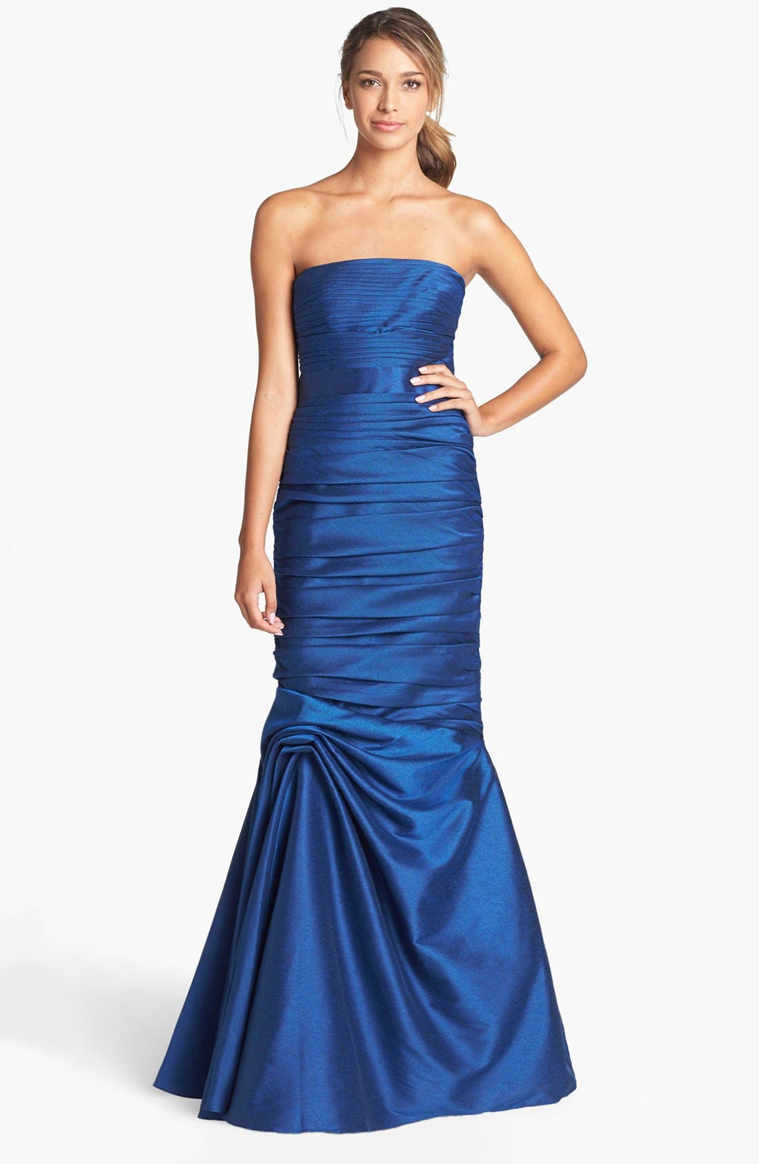 Alternate Image 1 Selected - ML Monique Lhuillier Strapless Ruched Faille Mermaid Gown (Nordstrom Exclusive)