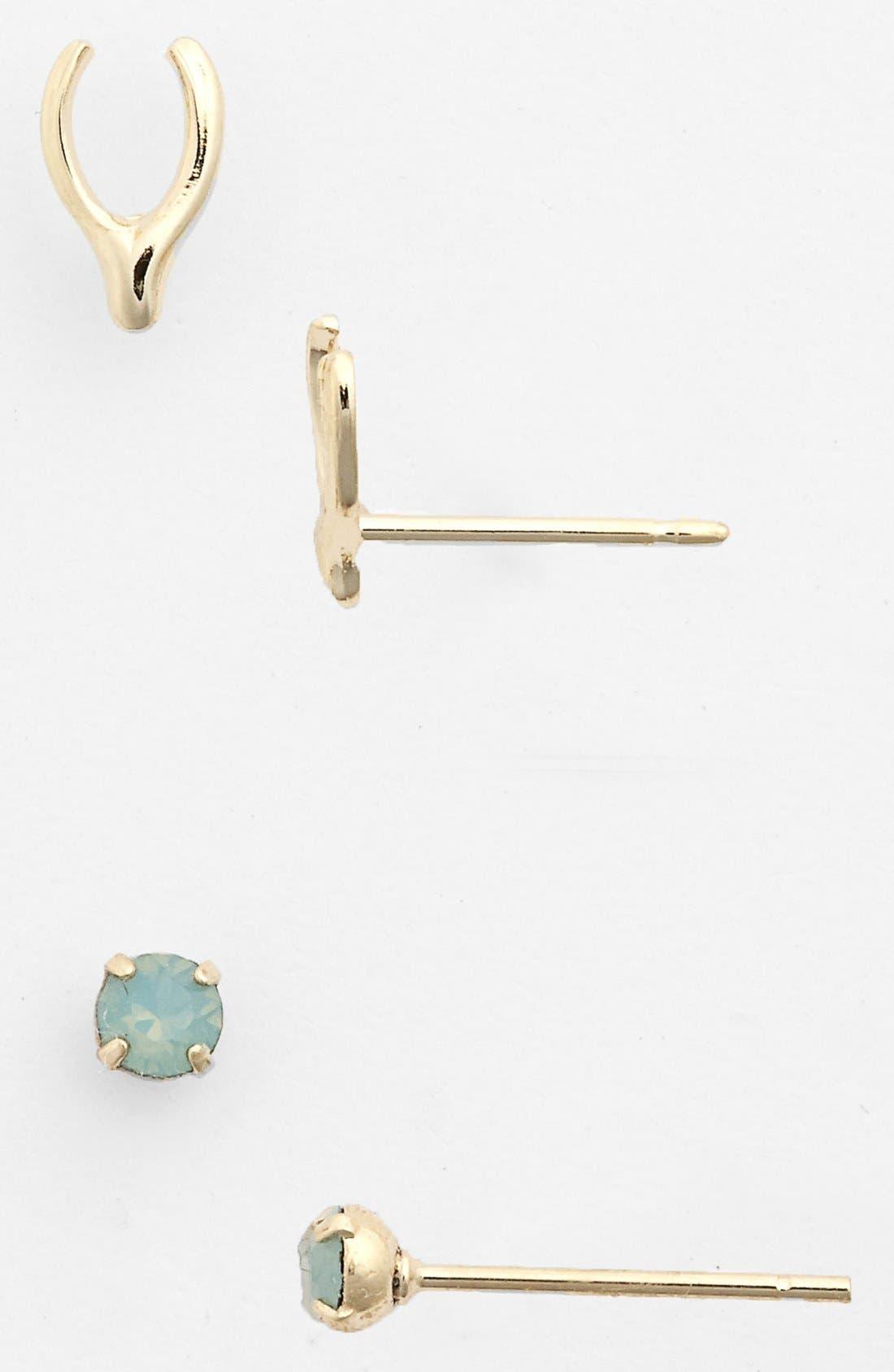 Main Image - Rachel 'Wishbone' Stud Earrings (Set of 2) (Juniors)