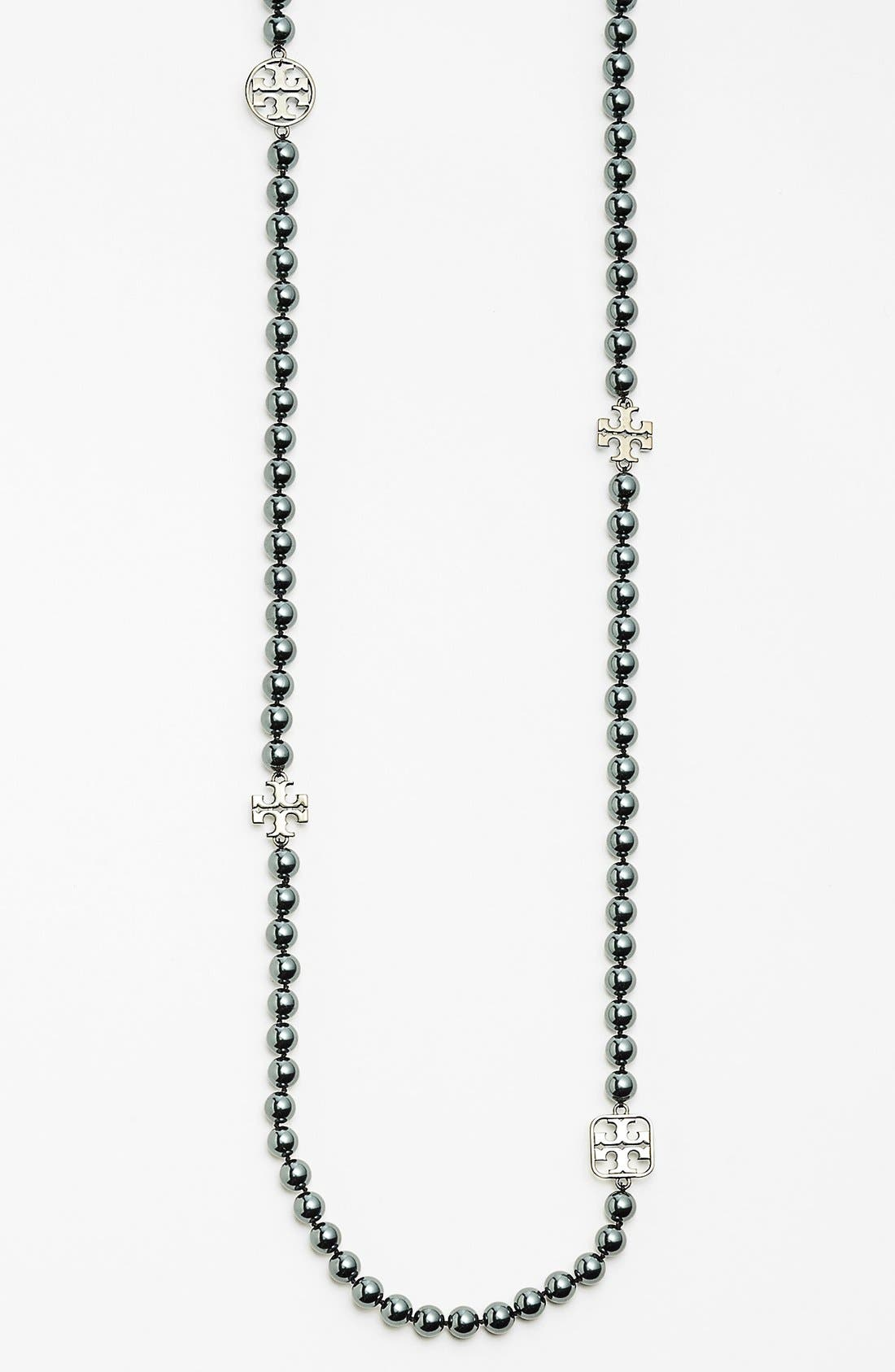 Alternate Image 2  - Tory Burch 'Evie' Logo & Glass Pearl Necklace
