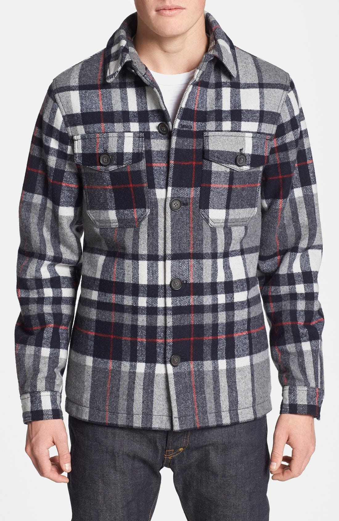 Main Image - Topman Check Wool Blend Flannel Shirt Jacket