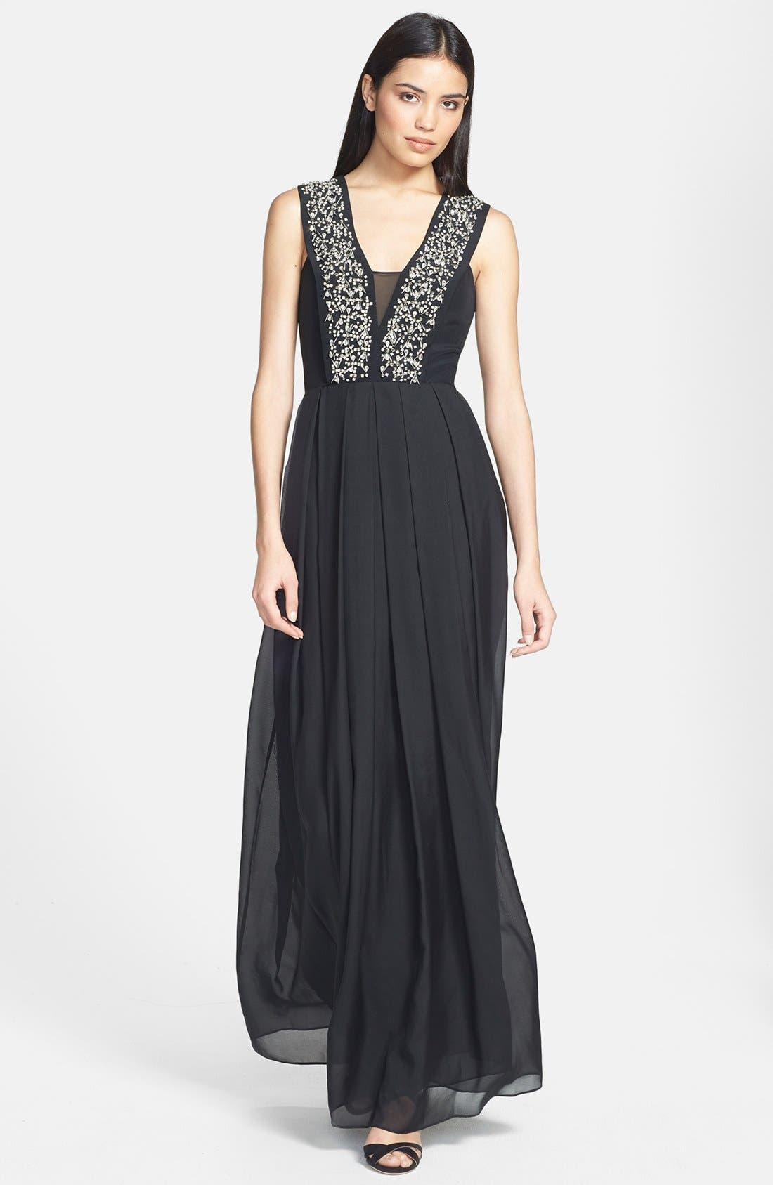 Main Image - Rebecca Taylor Embellished Silk Gown