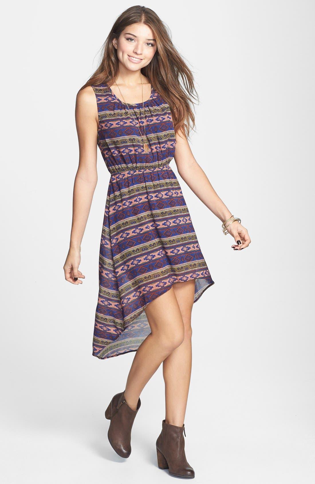 Main Image - Blu Pepper Print High/Low Blouson Dress (Juniors)