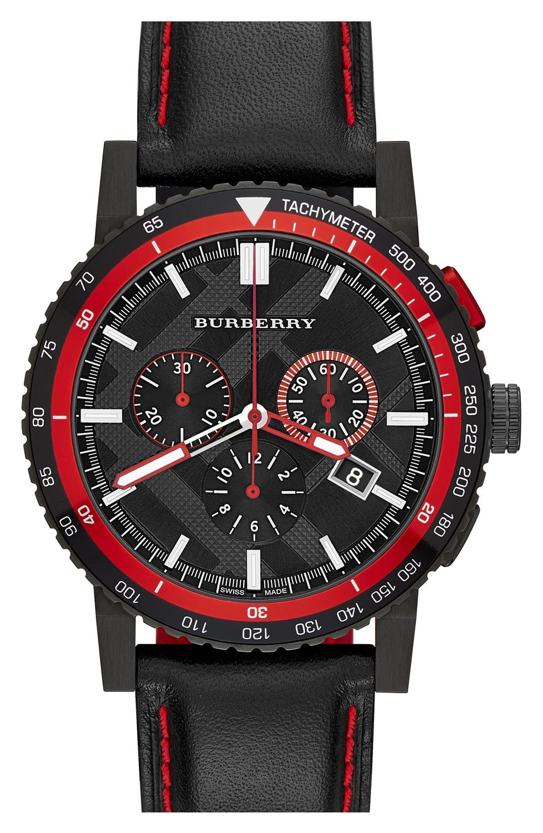 Main Image - Burberry Chronograph Leather Strap Watch, 42mm