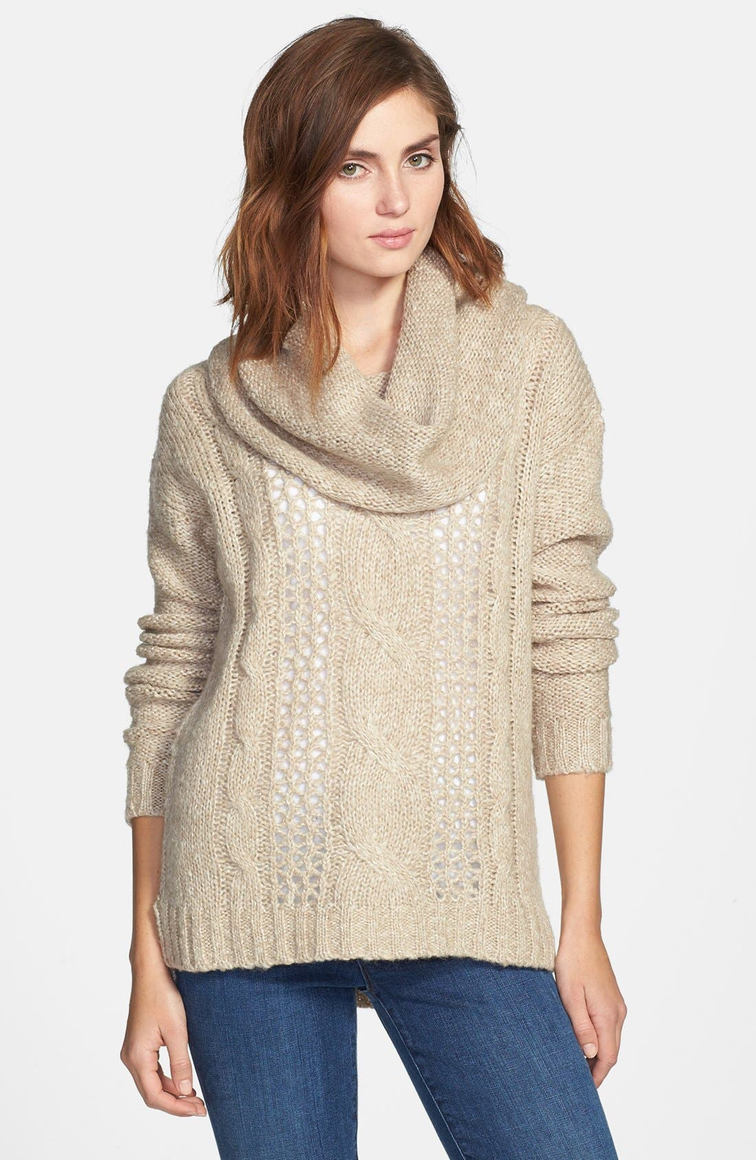 Alternate Image 1 Selected - kensie Cowl Neck Open Stitch Sweater