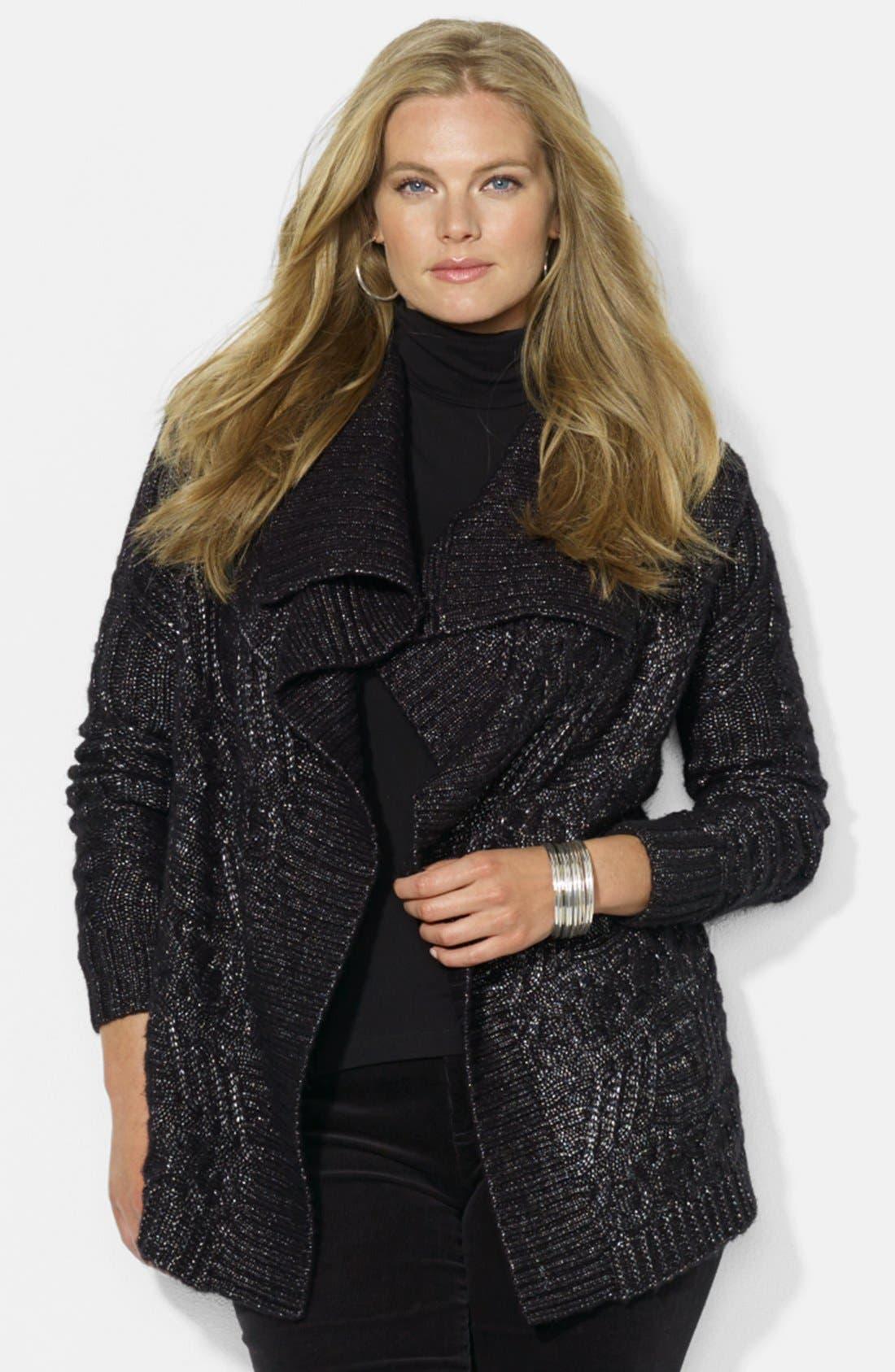 Main Image - Lauren Ralph Lauren Open Front Shimmer Cardigan (Plus Size)