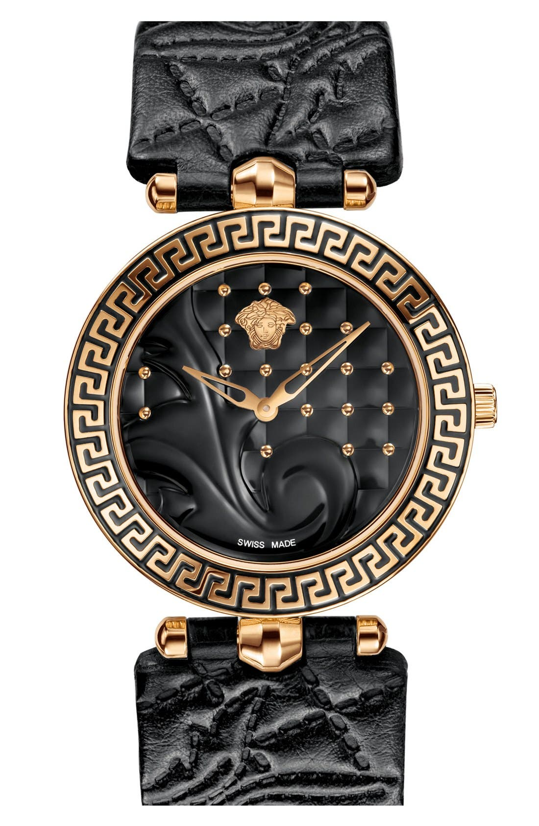 Alternate Image 1 Selected - Versace 'Vanitas' Baroque Pattern Leather Strap Watch, 40mm