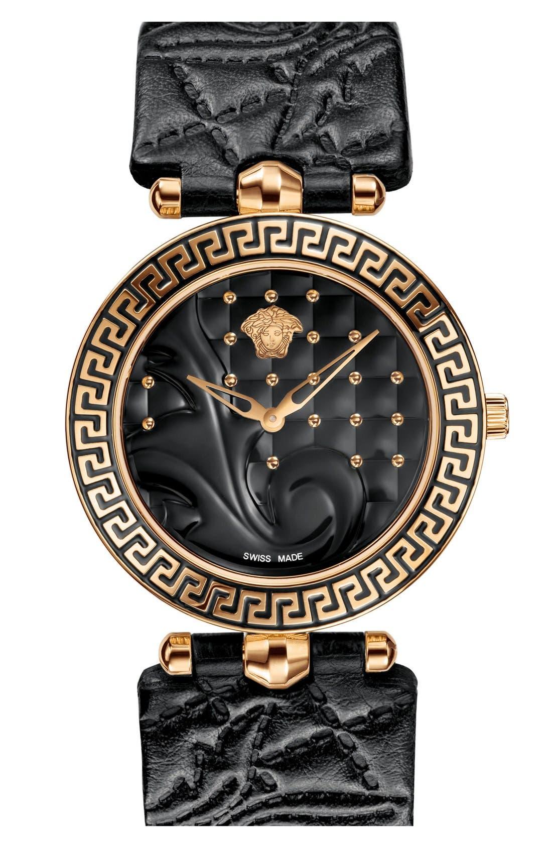 Main Image - Versace 'Vanitas' Baroque Pattern Leather Strap Watch, 40mm