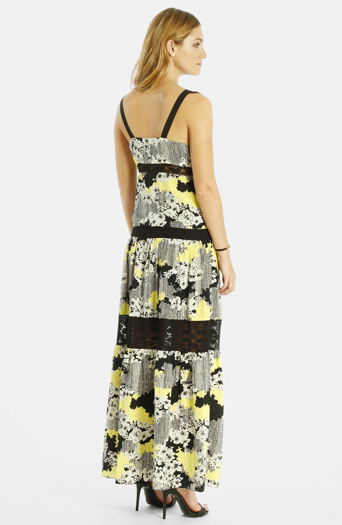Alternate Image 2  - LABEL by five twelve Lace Insert Print Maxi Dress
