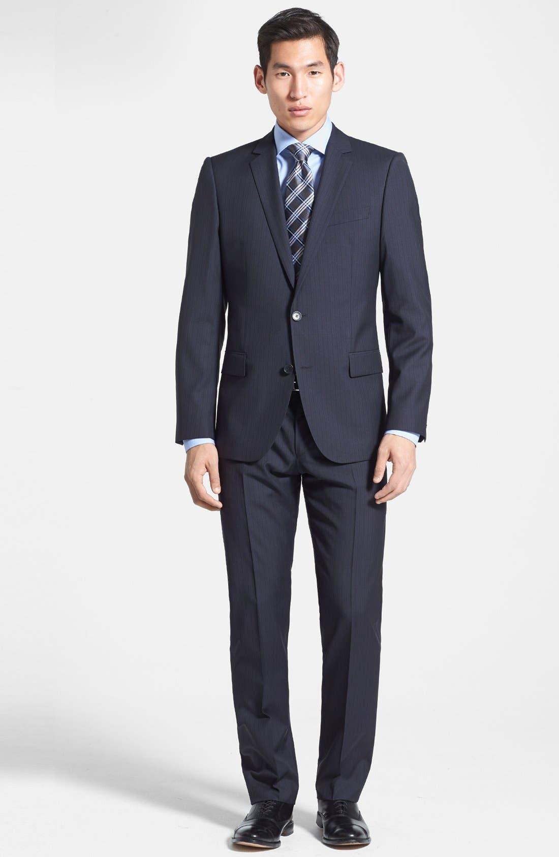 Alternate Image 1 Selected - HUGO 'Amaro/Heise' Trim Fit Wool Blend Suit