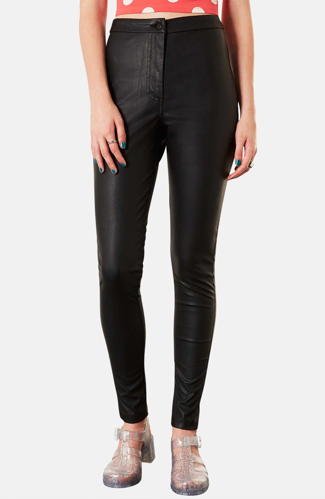 Alternate Image 1 Selected - Topshop 'Debbie' High Waist Faux Leather Pants