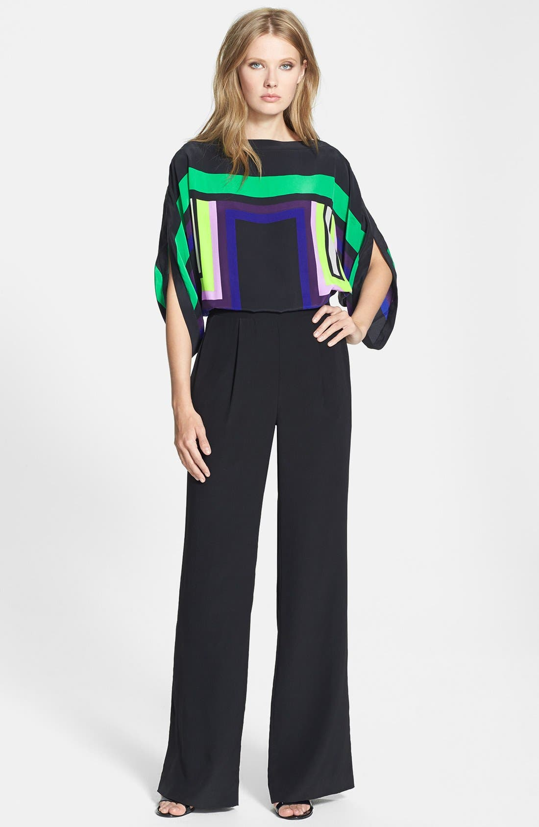 Alternate Image 1 Selected - Diane von Furstenberg 'Lucy' Print Top Silk Jumpsuit