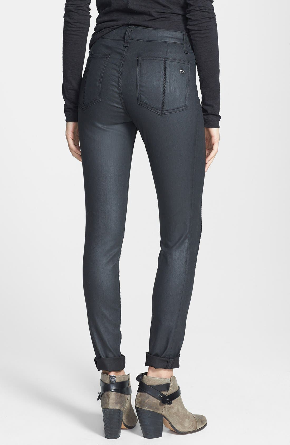 Alternate Image 2  - rag & bone/JEAN 'Separating' Coated Open Detail Skinny Jeans (Shore Ditch)