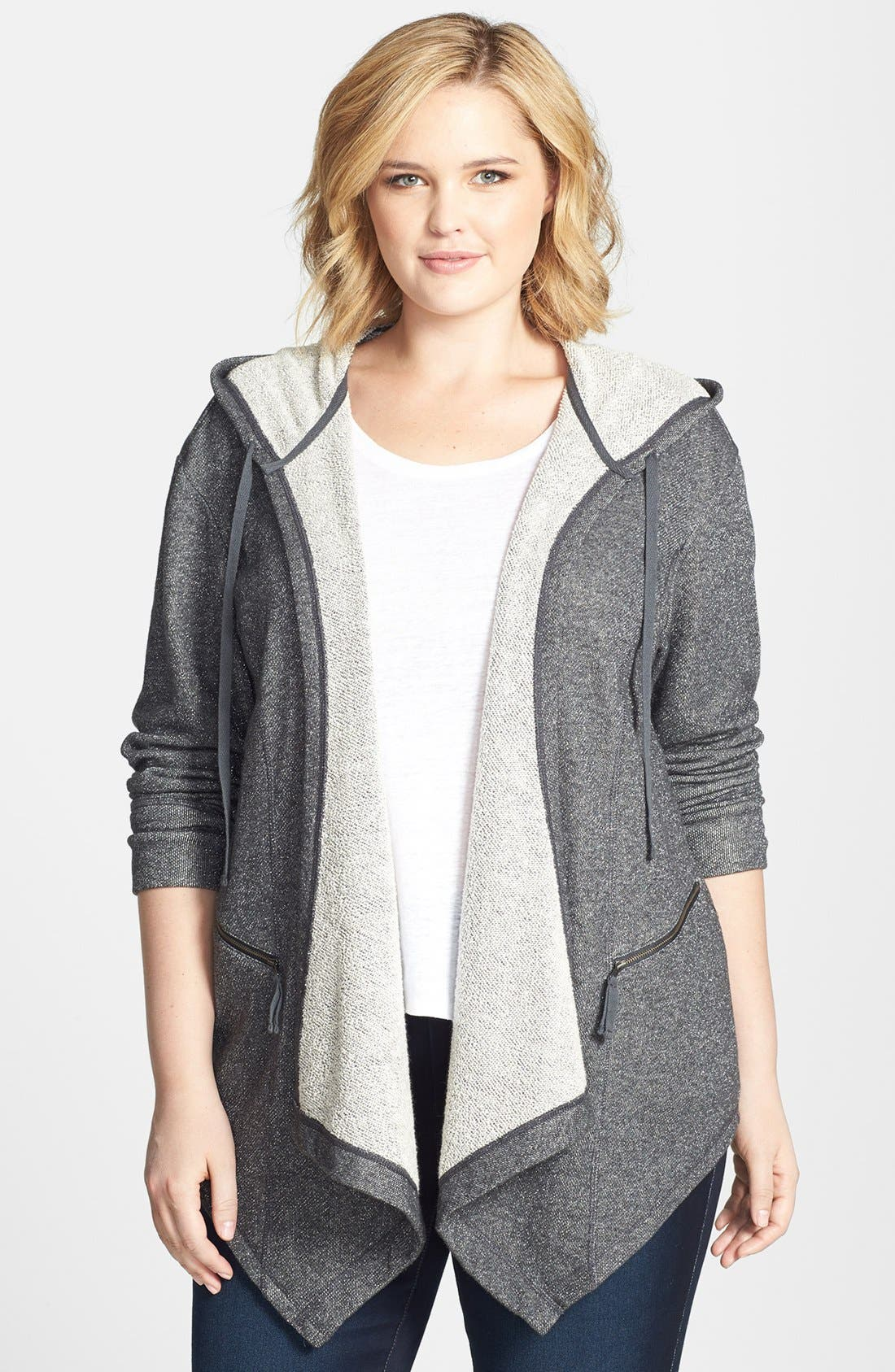 Main Image - Sejour Drape Front Metallic French Terry Hoodie (Plus Size)