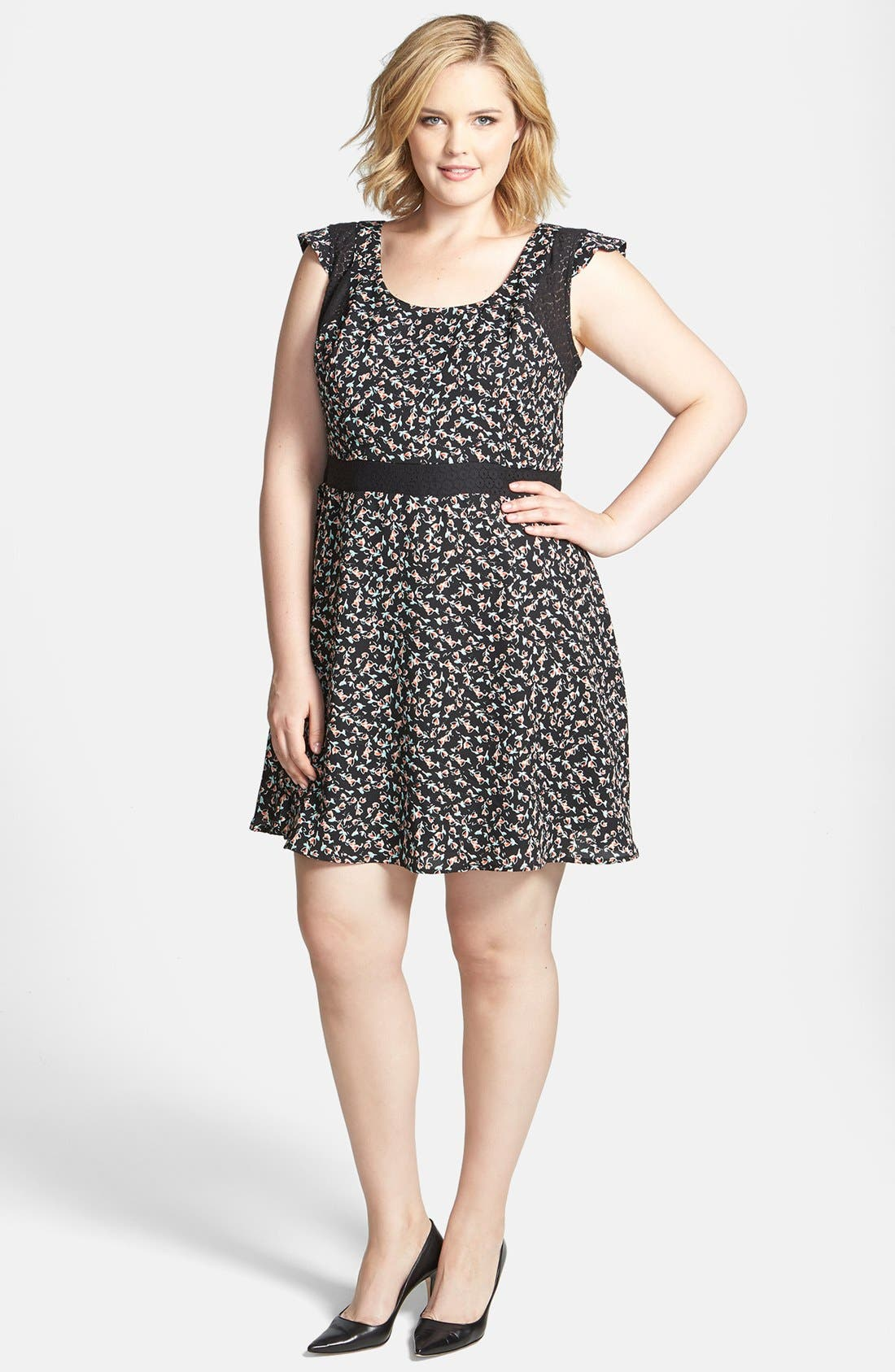 Alternate Image 1 Selected - Jessica Simpson 'Dupree' Fit & Flare Dress (Plus Size)