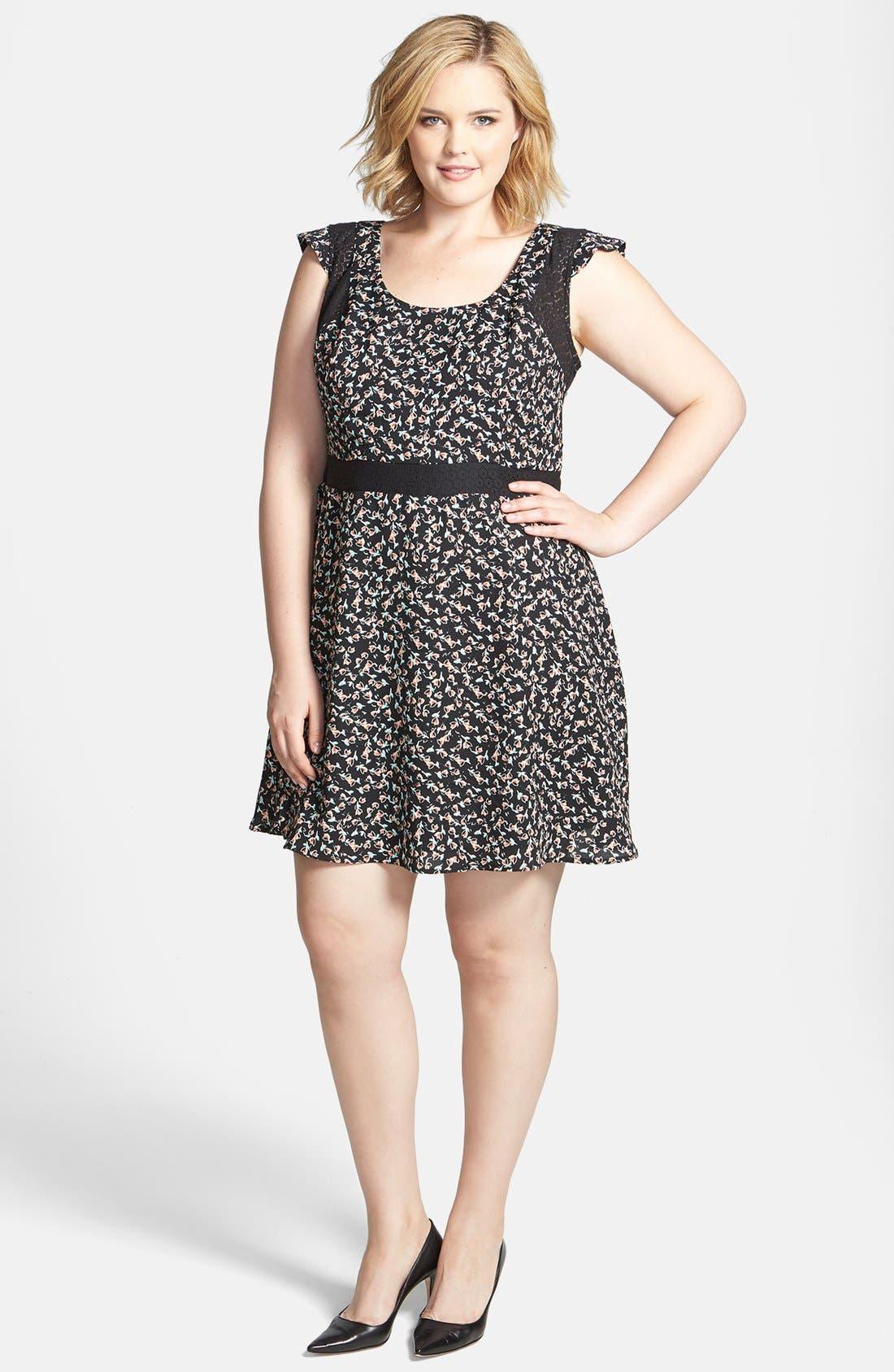 Main Image - Jessica Simpson 'Dupree' Fit & Flare Dress (Plus Size)