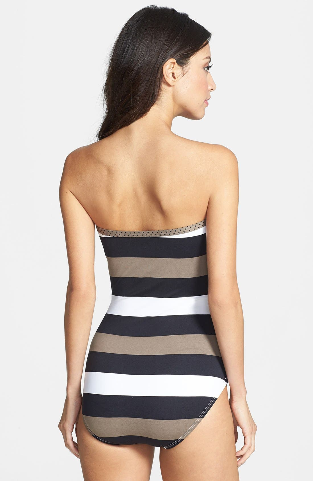 Alternate Image 2  - Tommy Bahama 'Rugby Stripe' Shirred Bandeau One Piece Swimsuit