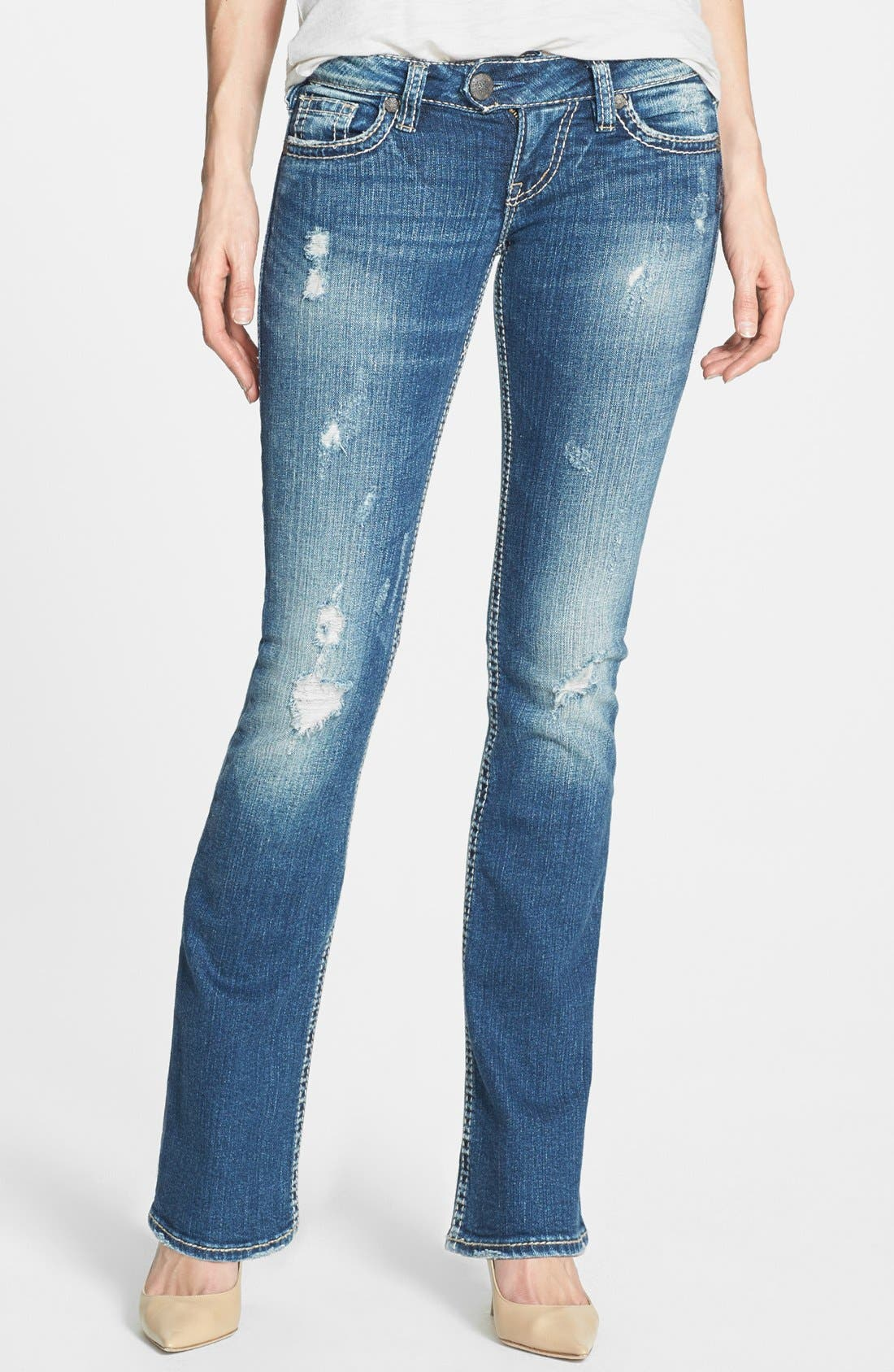 Main Image - Silver Jeans Co. 'Tuesday' Distressed Bootcut Jeans (Indigo)