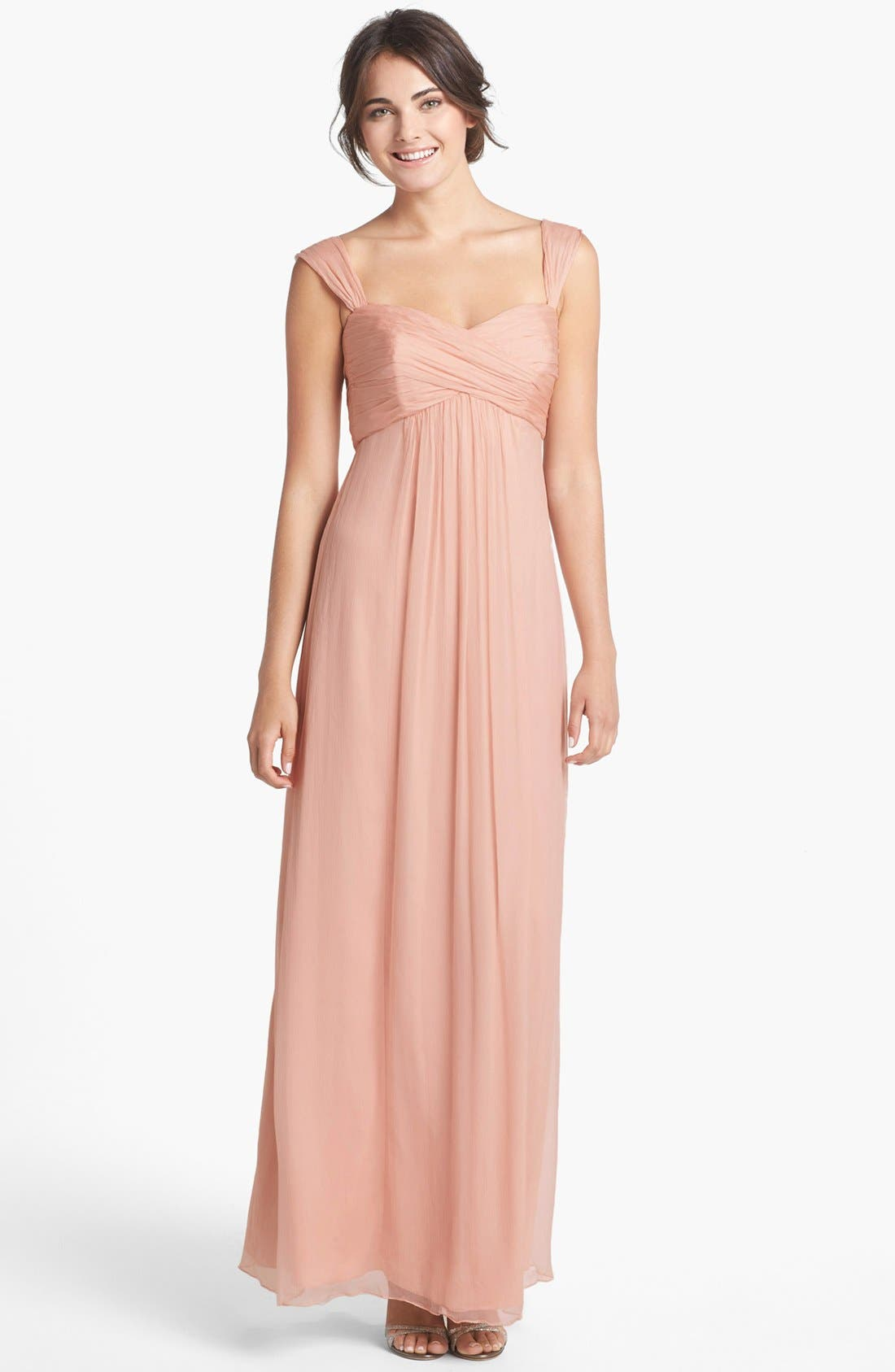 Alternate Image 1 Selected - Amsale Cap Sleeve Chiffon Gown