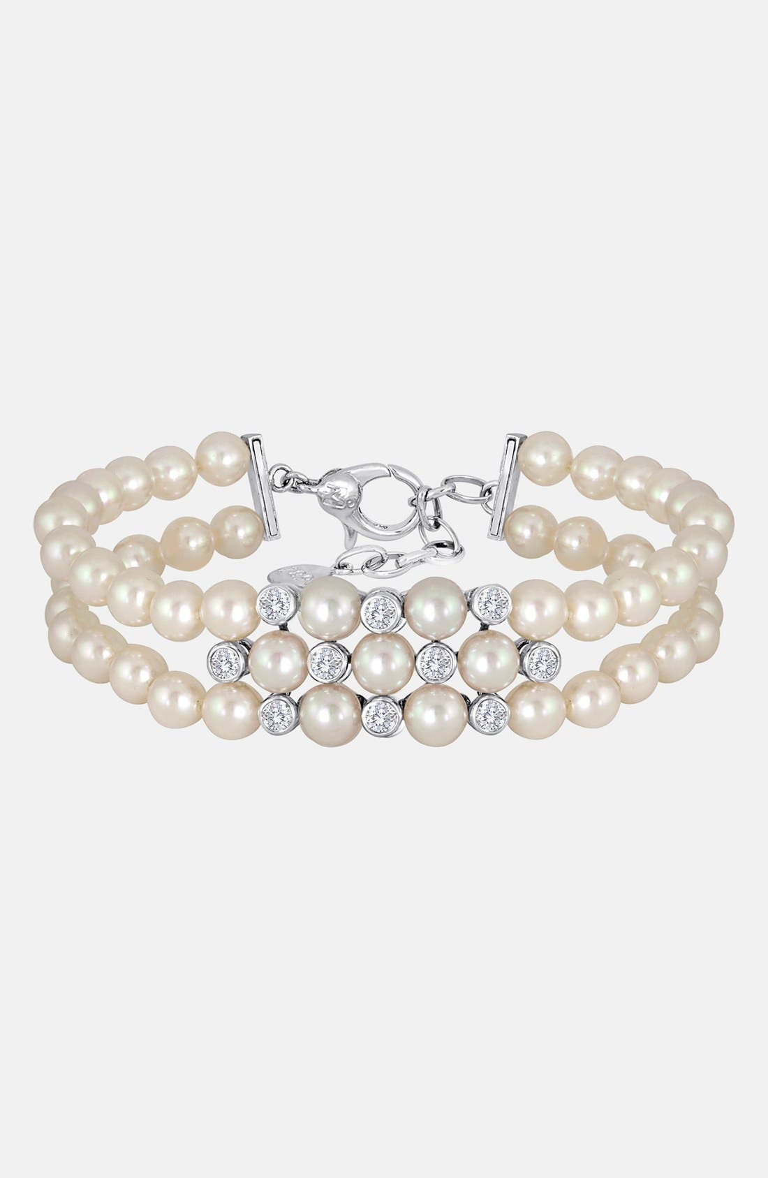 Alternate Image 1 Selected - Majorica 6mm Pearl & Crystal Bracelet