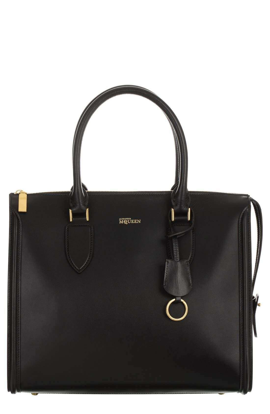 Alternate Image 1 Selected - Alexander McQueen 'Heroine' Calfskin Zip Tote