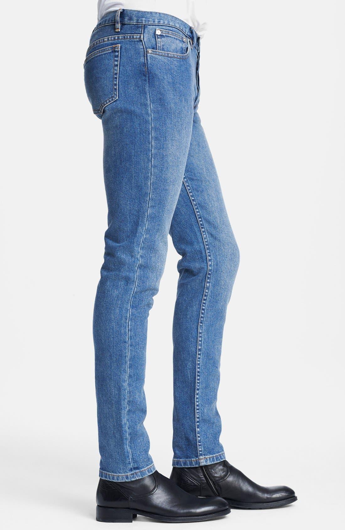 Alternate Image 4  - A.P.C. 'Petit New Standard' Skinny Fit Jeans (Denim Blue)