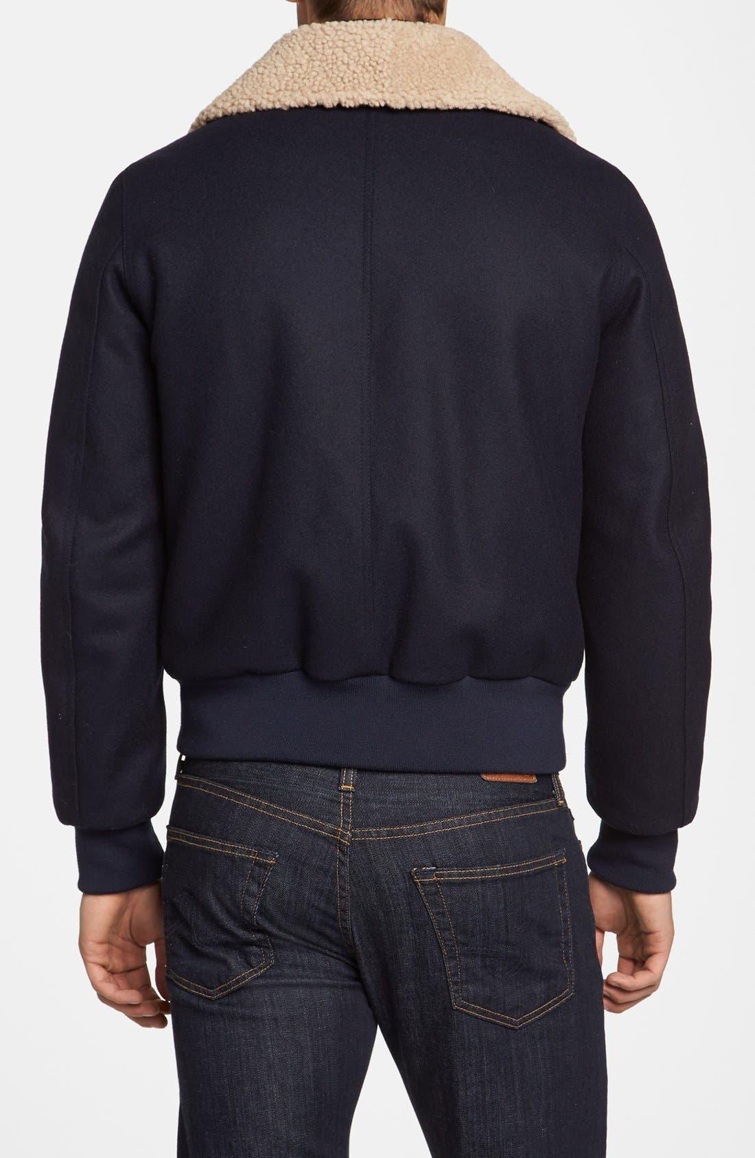 Alternate Image 2  - AMI Alexandre Mattiussi Wool & Genuine Shearling Bomber Jacket