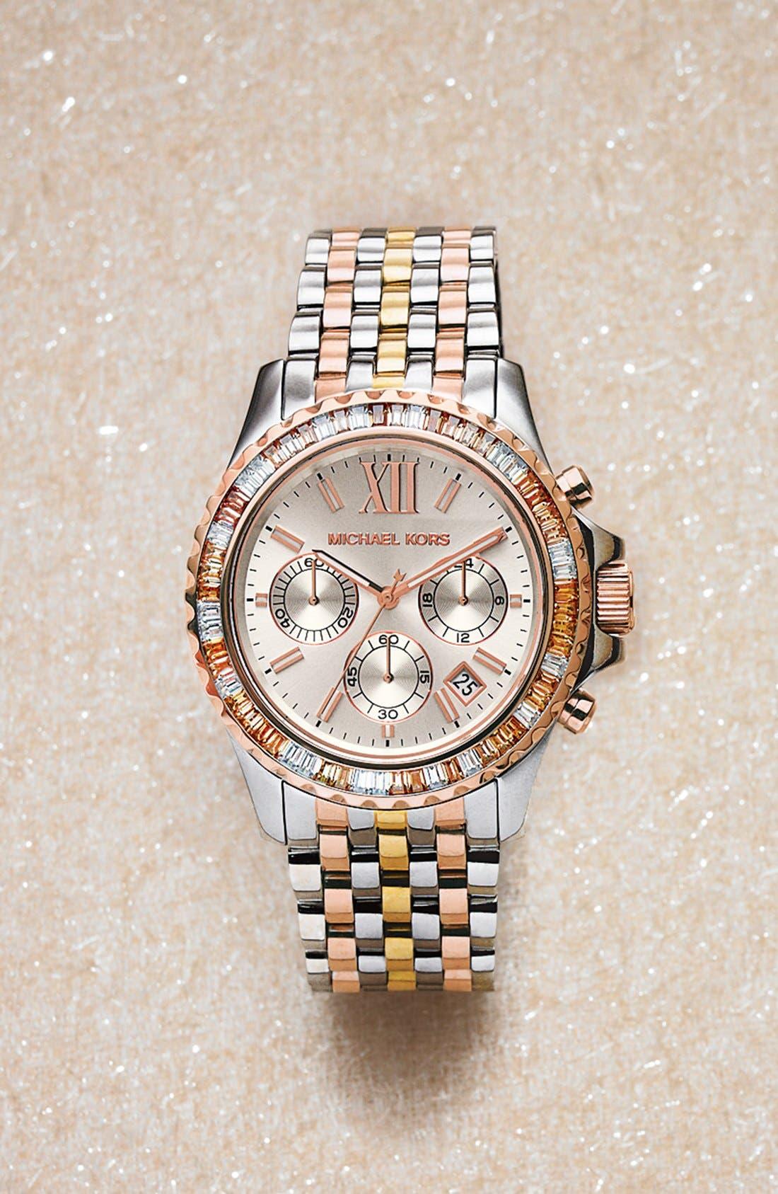 Alternate Image 4  - Michael Kors 'Everest' Crystal Bezel Tri Tone Bracelet Watch, 42mm