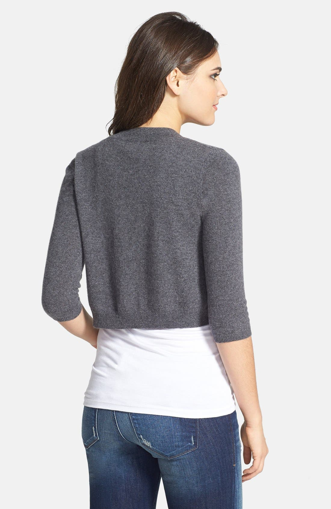 Alternate Image 2  - Halogen® Wool & Cashmere Shrug (Regular & Petite)