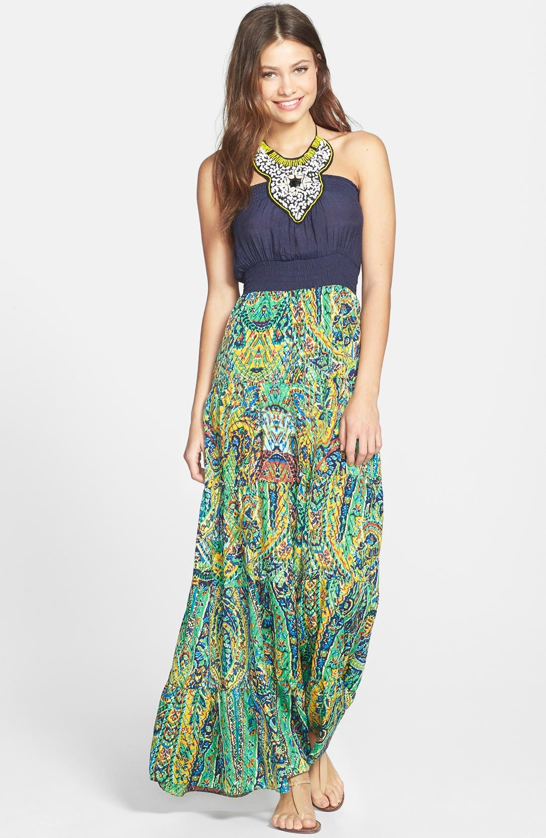 Alternate Image 1 Selected - Tbags Los Angeles Embellished Maxi Dress