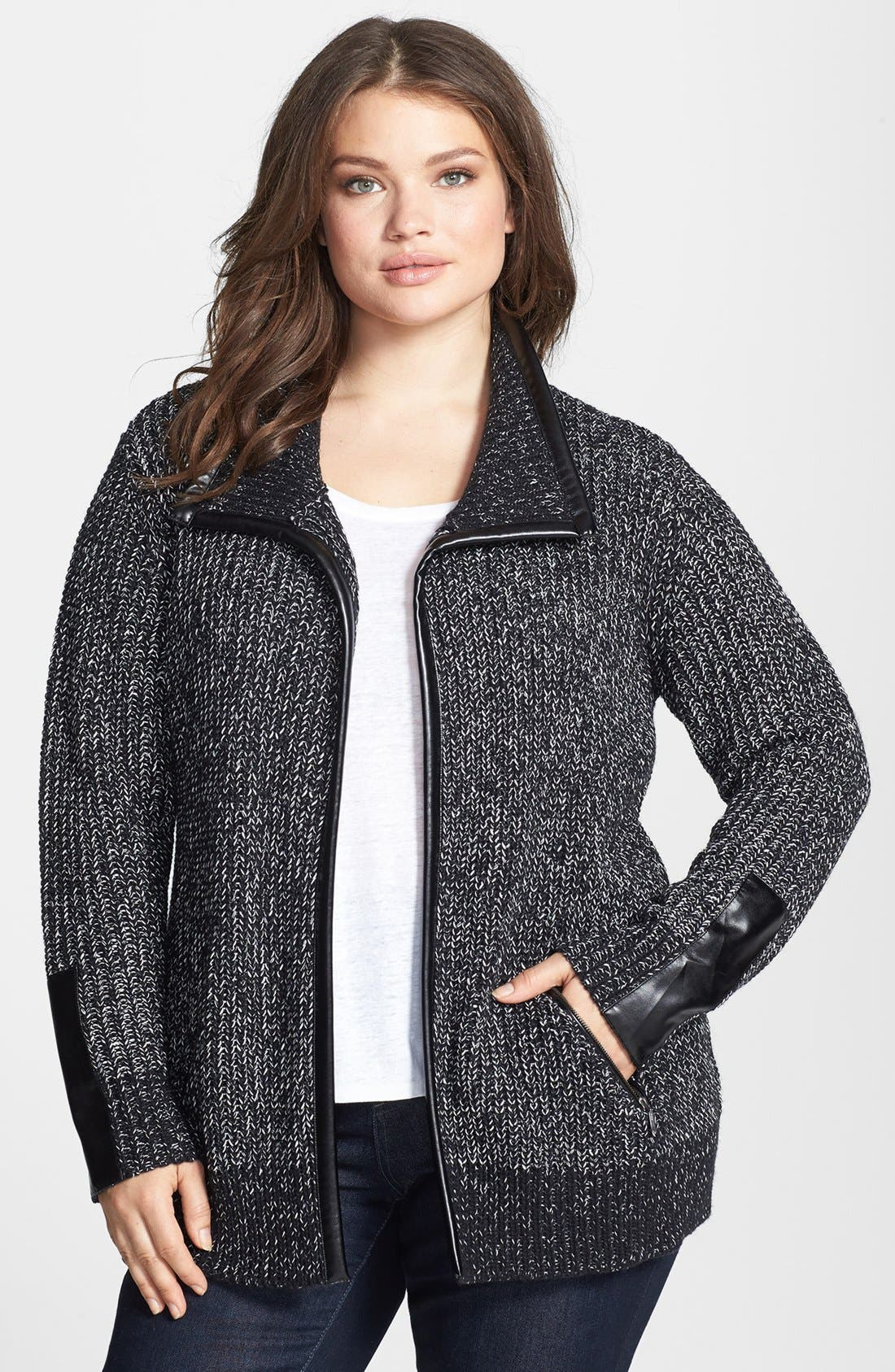 Main Image - Sejour Faux Leather Trim Open Front Knit Jacket (Plus Size)